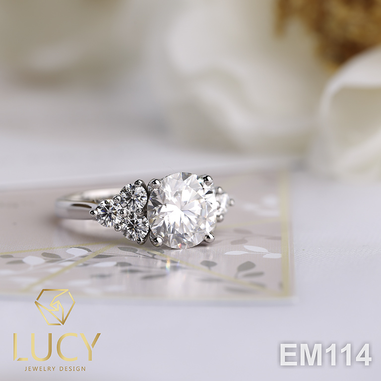 EM114 - Nhẫn cầu hôn đính hôn, Nhẫn vàng nữ, Nhẫn ổ kim cương viên chủ 9.5mm - Lucy Jewelry