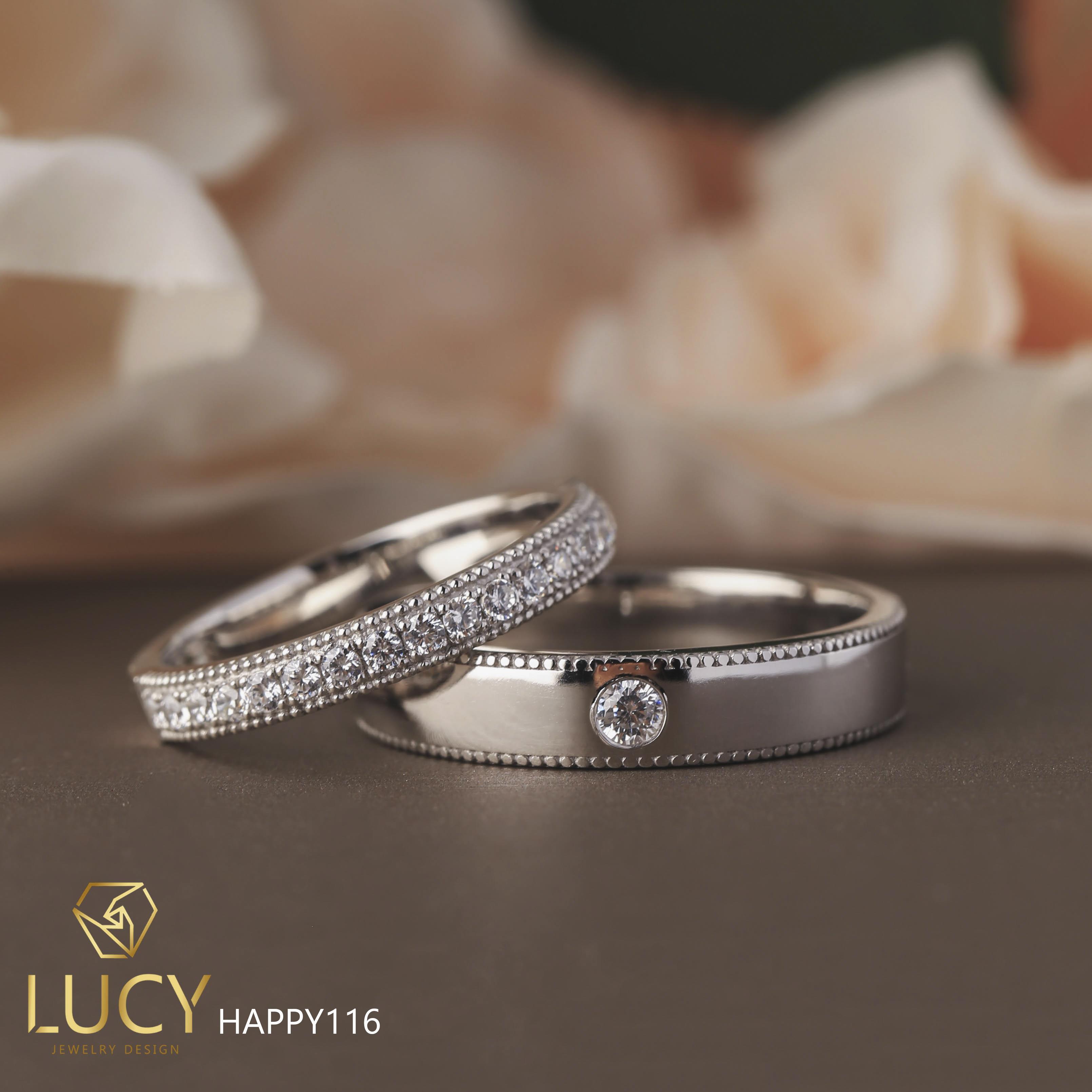 HAPPY116 Nhẫn cưới đẹp vàng tây, vàng trắng, vàng hồng 10k 14k 18k, Bạch Kim Platinum PT900 đính CZ, Moissanite, Kim cương - Lucy Jewelry