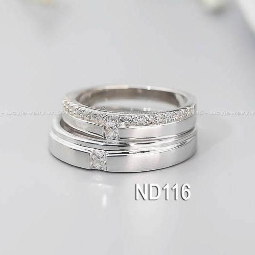 Nhẫn đôi nhẫn cặp đẹp bạc Lucy - ND116