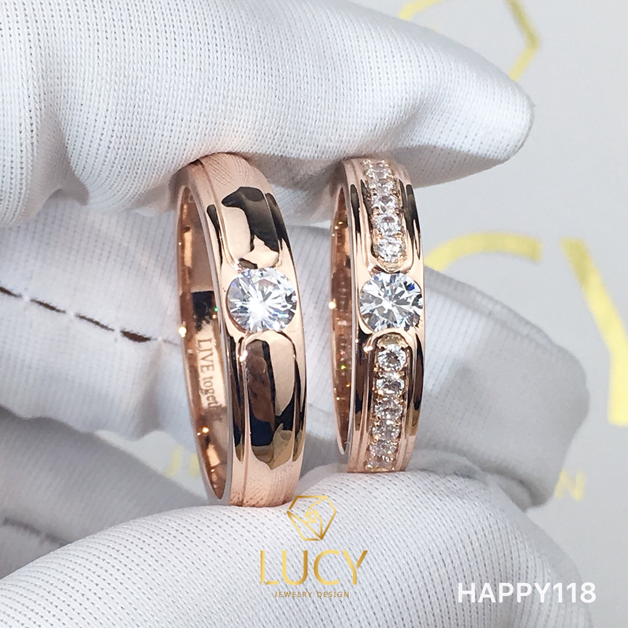 HAPPY118 Nhẫn cưới thiết kế, nhẫn cưới đẹp, nhẫn cưới cao cấp, nhẫn cưới kim cương 4.0mm 3.6mm - Lucy Jewelry