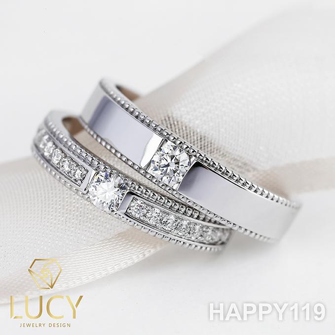 HAPPY119 Nhẫn cưới thiết kế, nhẫn cưới cao cấp, nhẫn cưới kim cương 3.5mm 3.6mm- Lucy Jewelry