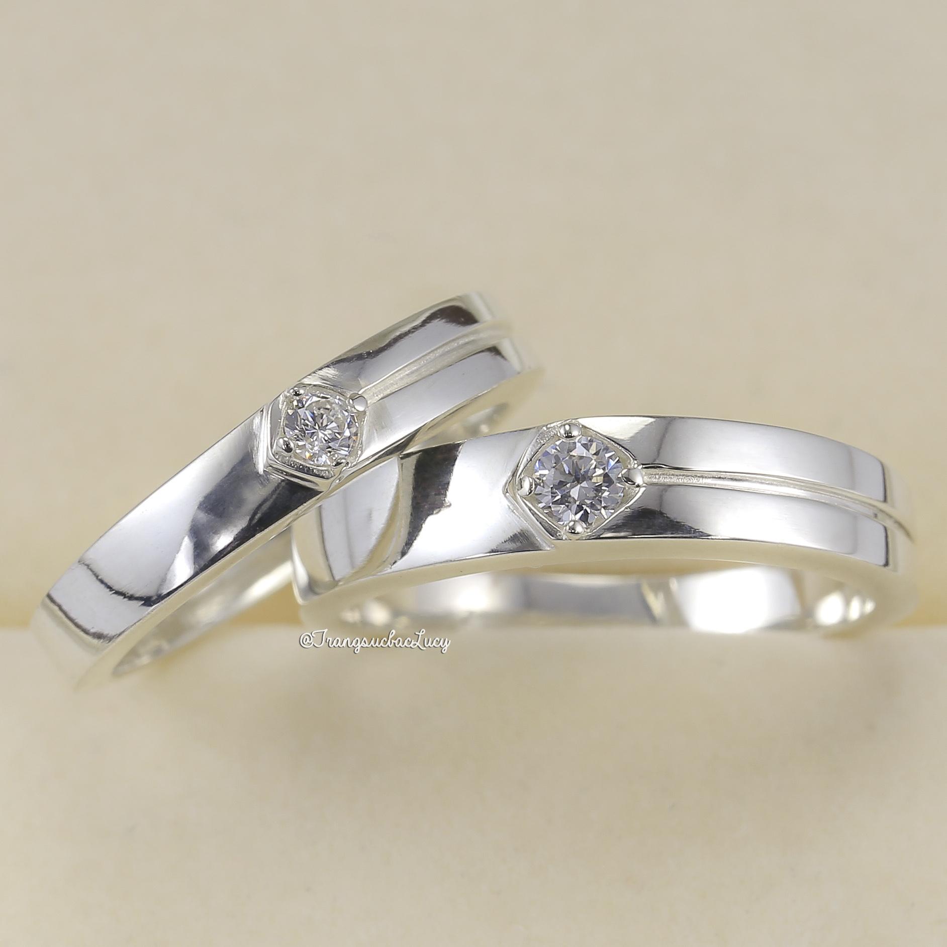 Nhẫn đôi nhẫn cặp bạc Lucy - ND053