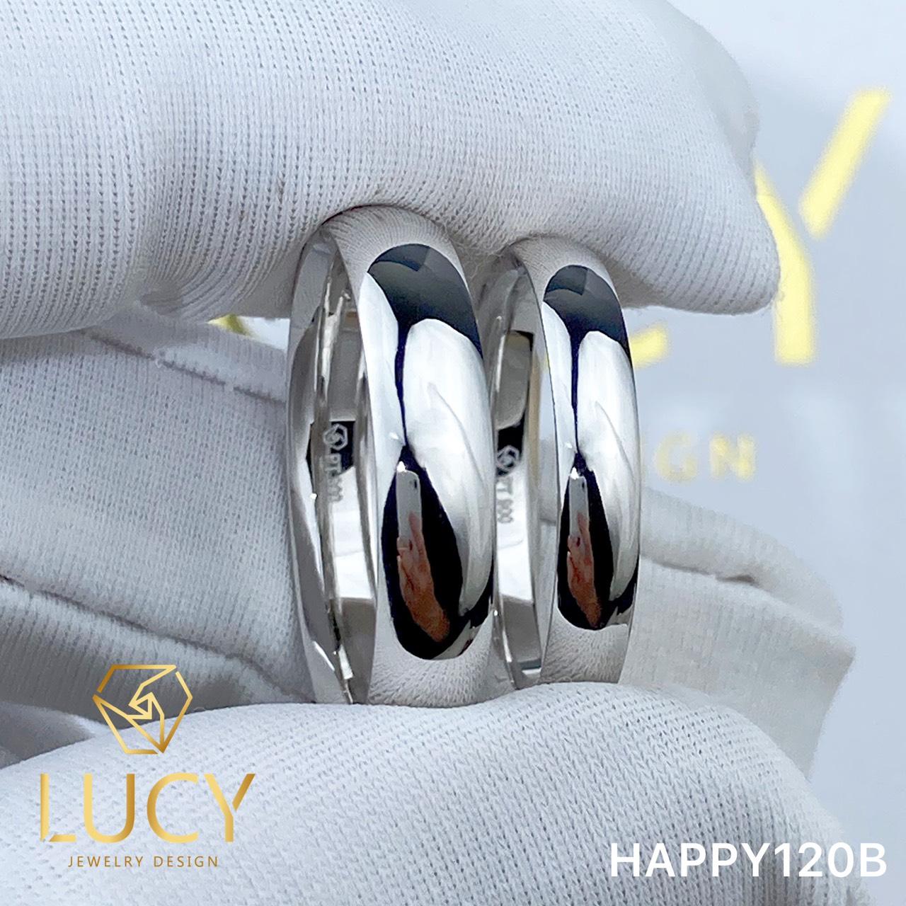 HAPPY120B Nhẫn cưới trơn đẹp vàng tây, vàng trắng, vàng hồng 10k 14k 18k, Bạch Kim Platinum PT900 - Lucy Jewelry