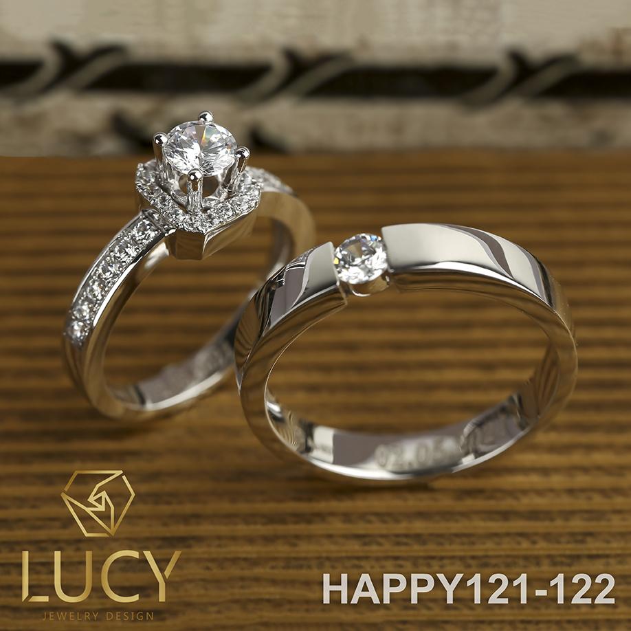 HAPPY121-122 Nhẫn cưới đẹp vàng tây, vàng trắng, vàng hồng 10k 14k 18k, Bạch Kim Platinum PT900 đính CZ, Moissanite, Kim cương - Lucy Jewelry