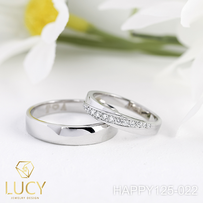 HAPPY125-022 Nhẫn cưới thiết kế, nhẫn cưới cao cấp, nhẫn cưới  kim cương - Lucy Jewelry