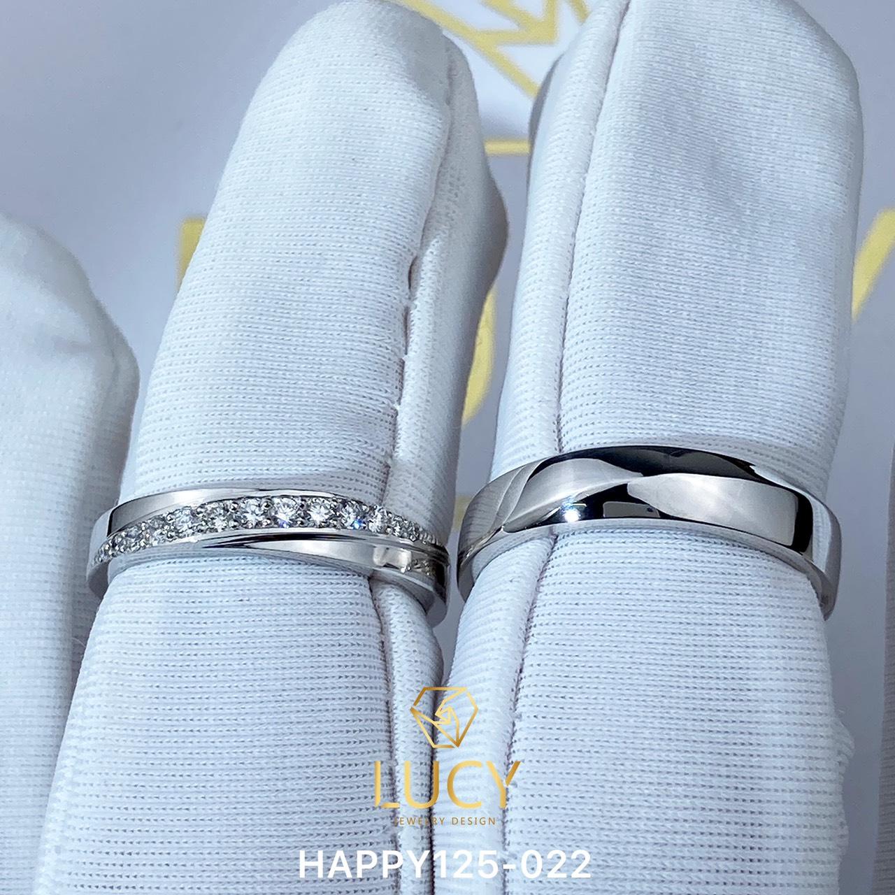 HAPPY125-022_PT900 Nhẫn cưới bạch kim cao cấp Platinum 90% PT900 - Lucy Jewelry