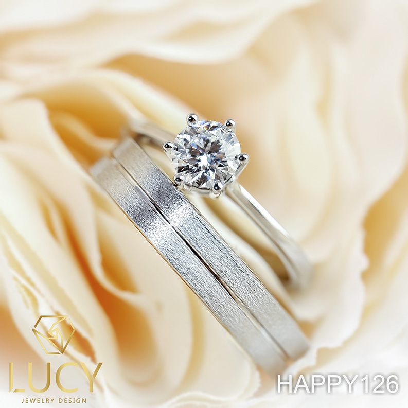 HAPPY126 Nhẫn đôi, nhẫn cưới thiết kế, nhẫn cưới cao cấp, nhẫn cưới  kim cương 5mm - Lucy Jewelry