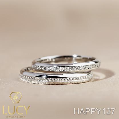 HAPPY127_PT900 Nhẫn cưới bạch kim cao cấp Platinum 90% PT900 - Lucy Jewelry
