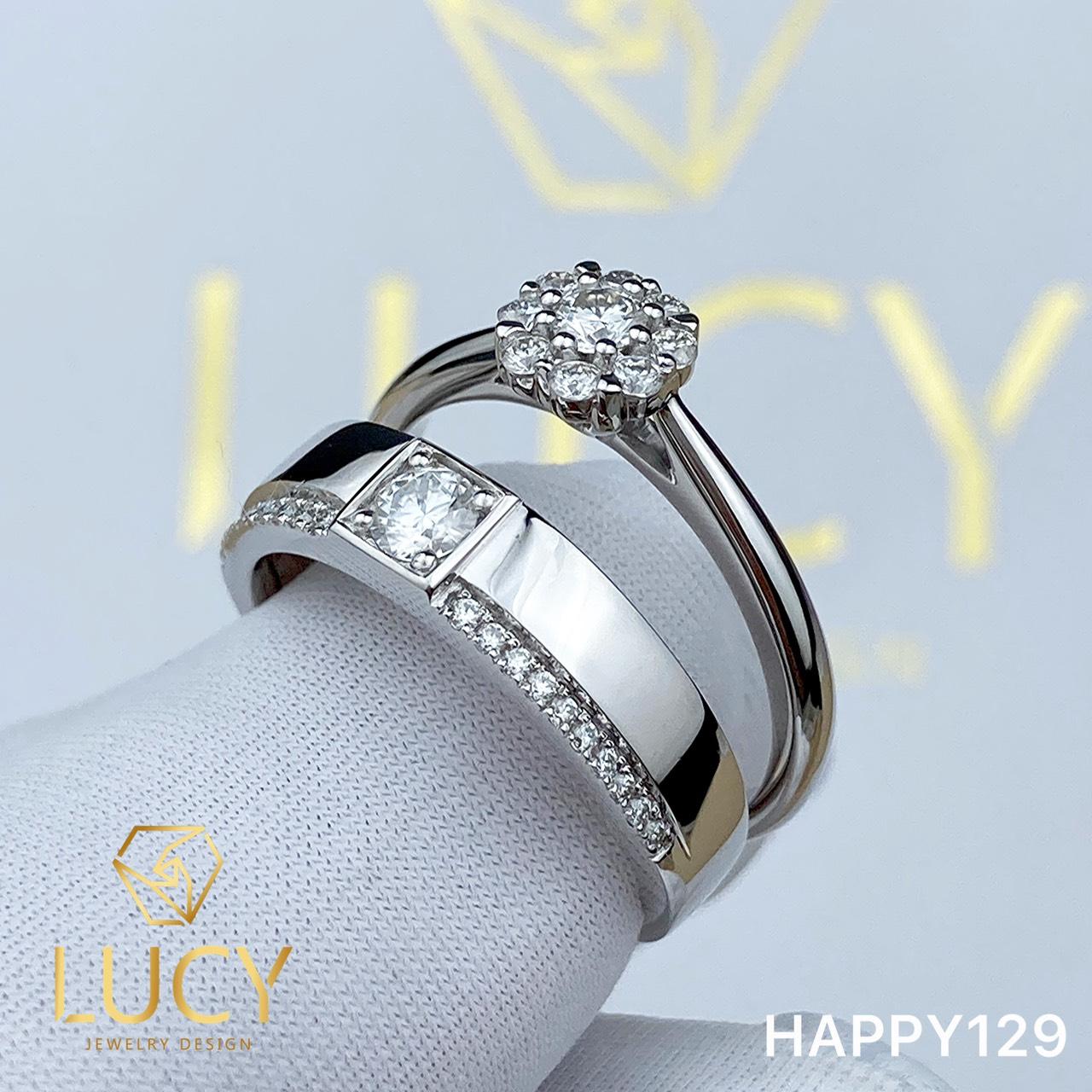 HAPPY129 - Nhẫn cưới vàng và bạch kim platinum đính CZ , Moissanite, Kim cương tự nhiên  - Lucy Jewelry
