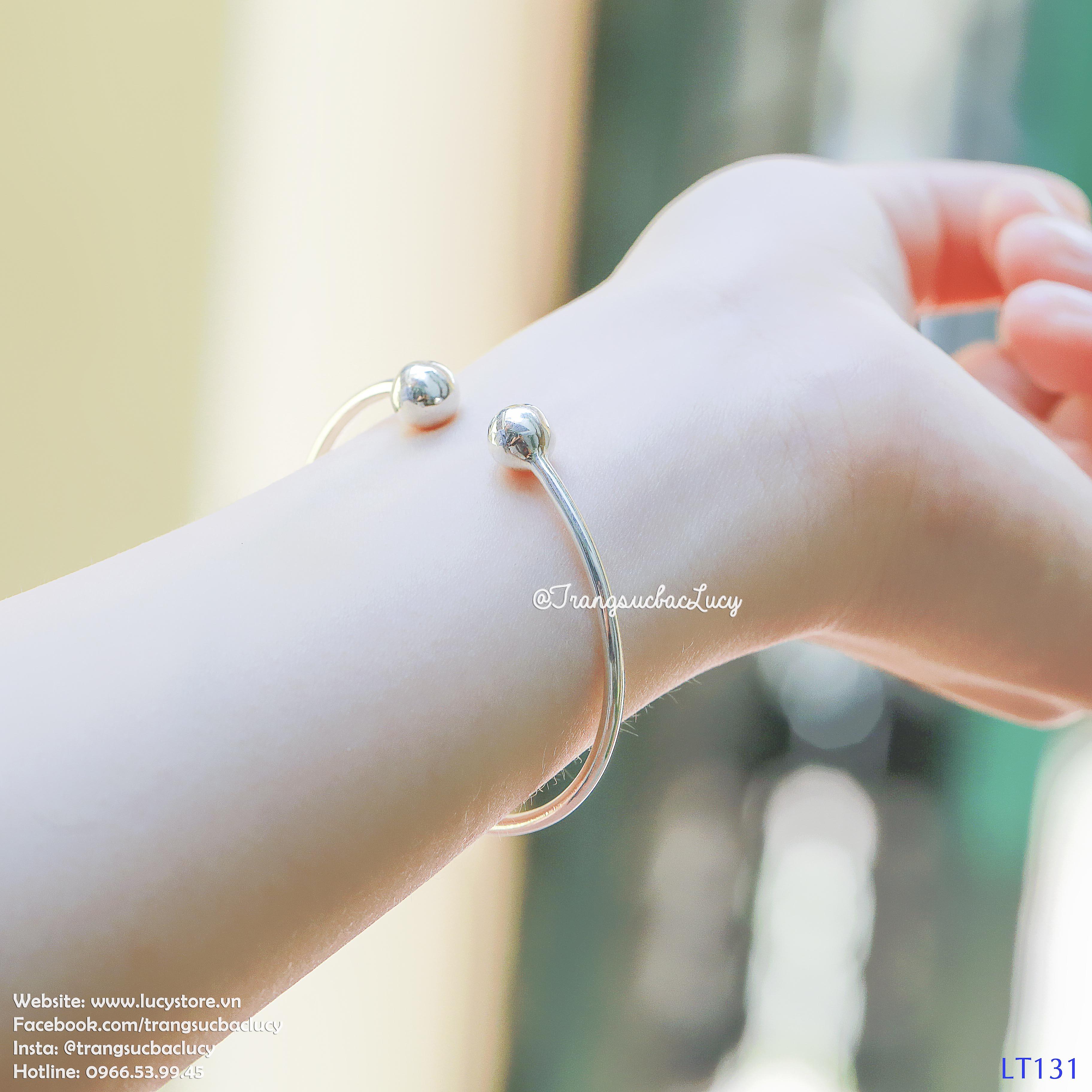 Lắc tay cuff đặc 2 đầu tròn bạc Lucy - LT131