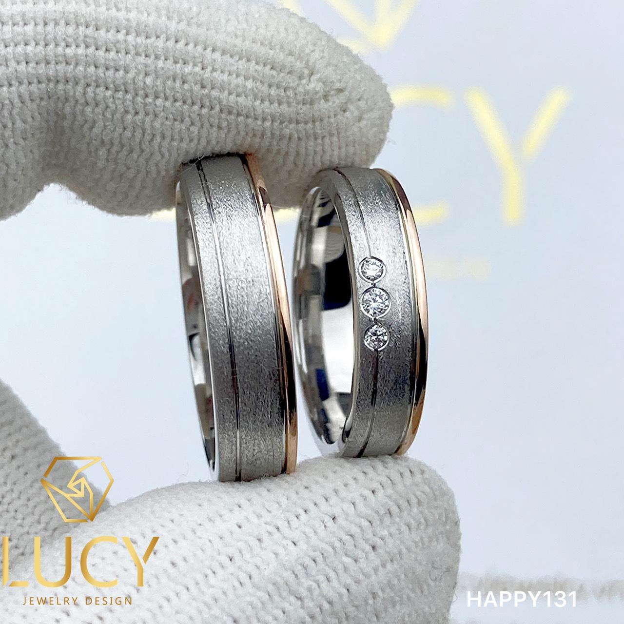HAPPY131 Nhẫn cưới đẹp vàng tây, vàng trắng, vàng hồng 10k 14k 18k, Bạch Kim Platinum PT900 đính CZ, Moissanite, Kim cương - Lucy Jewelry