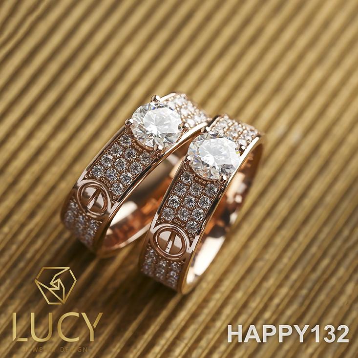 HAPPY132 Nhẫn cưới đẹp vàng tây, vàng trắng, vàng hồng 10k 14k 18k, Bạch Kim Platinum PT900 đính CZ, Moissanite, Kim cương - Lucy Jewelry