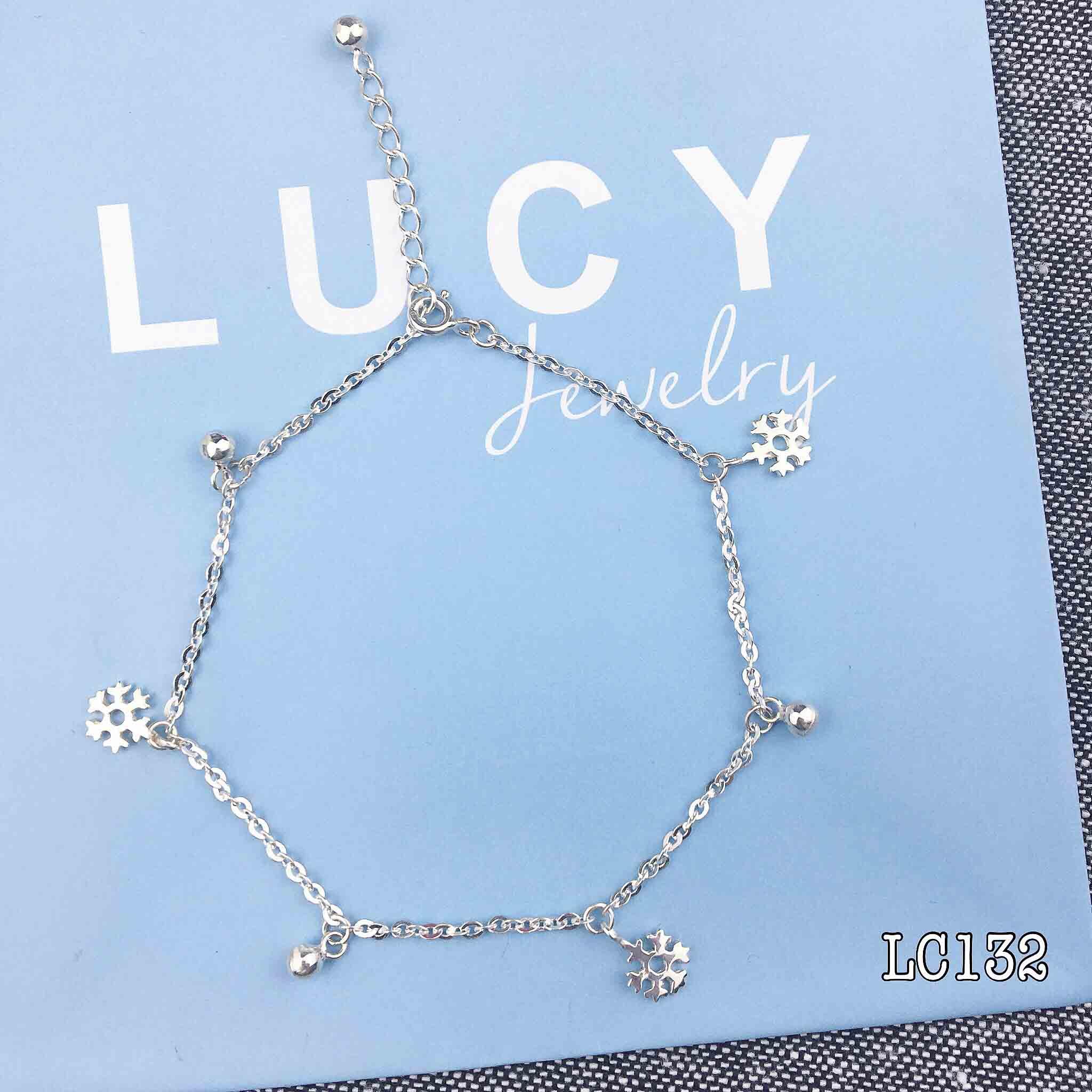 HÀNG ORDER - Lắc chân bạc bông tuyết và bi nhỏ bạc LUCY - LC132