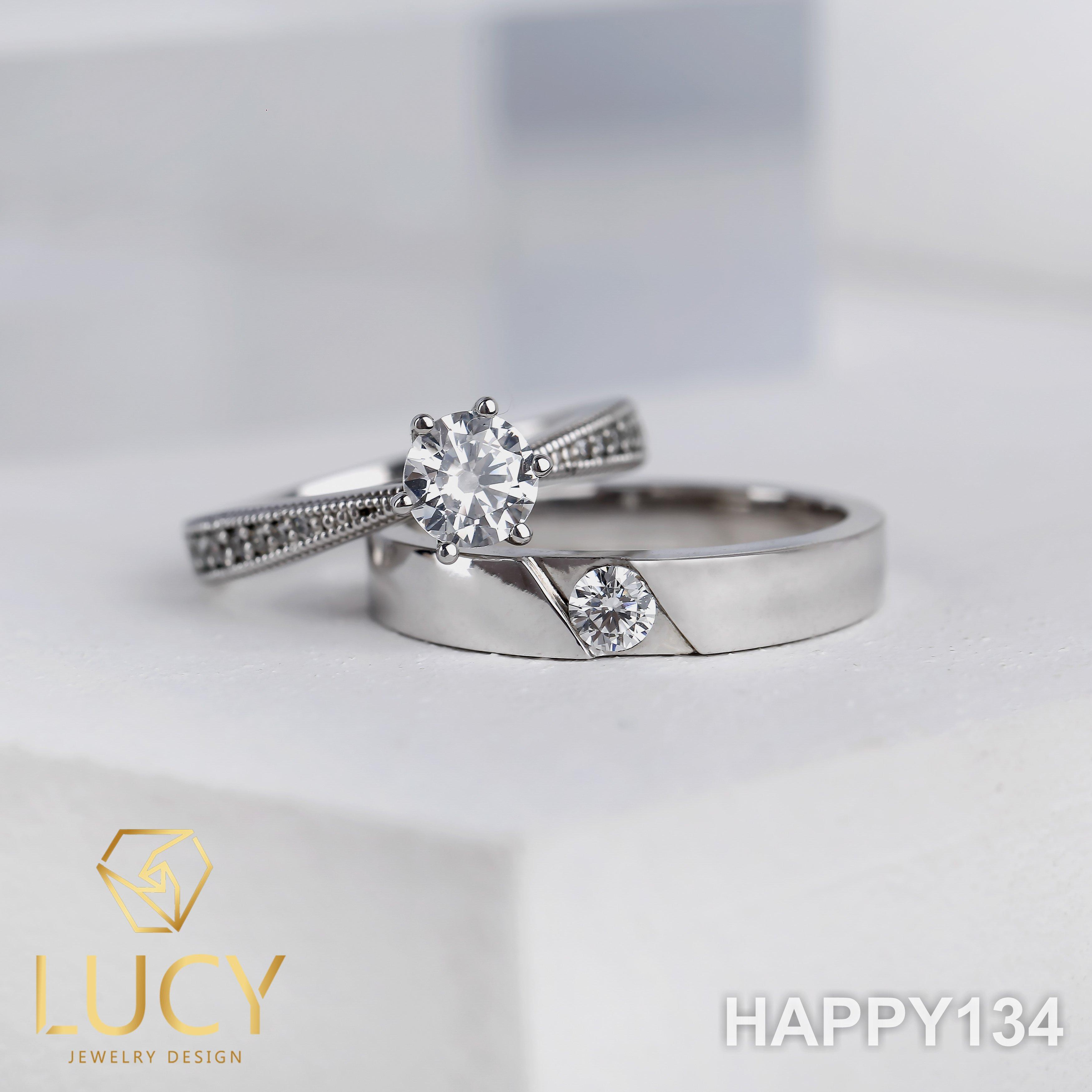 HAPPY134 Nhẫn cưới đẹp vàng tây, vàng trắng, vàng hồng 10k 14k 18k, Bạch Kim Platinum PT900 đính CZ, Moissanite, Kim cương - Lucy Jewelry
