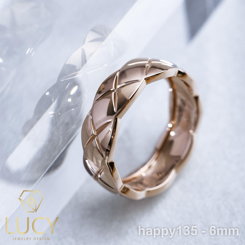 HAPPY135-6mm Nhẫn Unisex cho cả Nam và Nữ bản 6mm - Lucy Jewelry