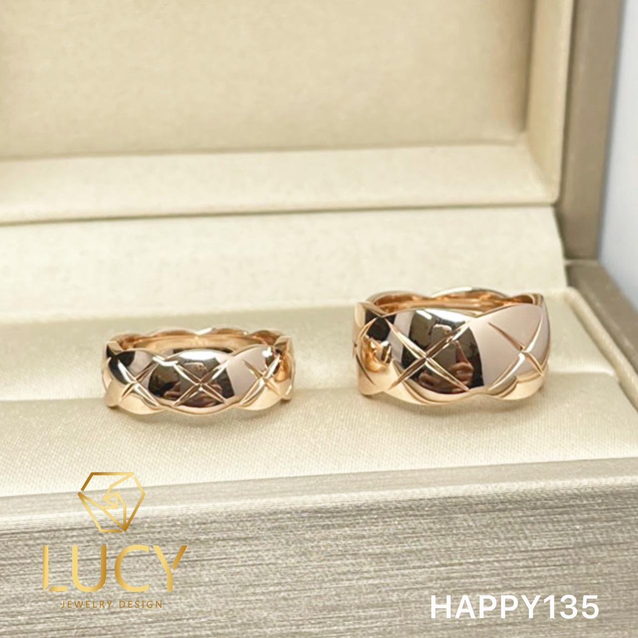 HAPP135 Nhẫn cưới Coco Crush vàng tây, vàng trắng, vàng hồng 10k 14k 18k, Bạch Kim Platinum PT900 đính CZ, Moissanite, Kim cương - Lucy Jewelry