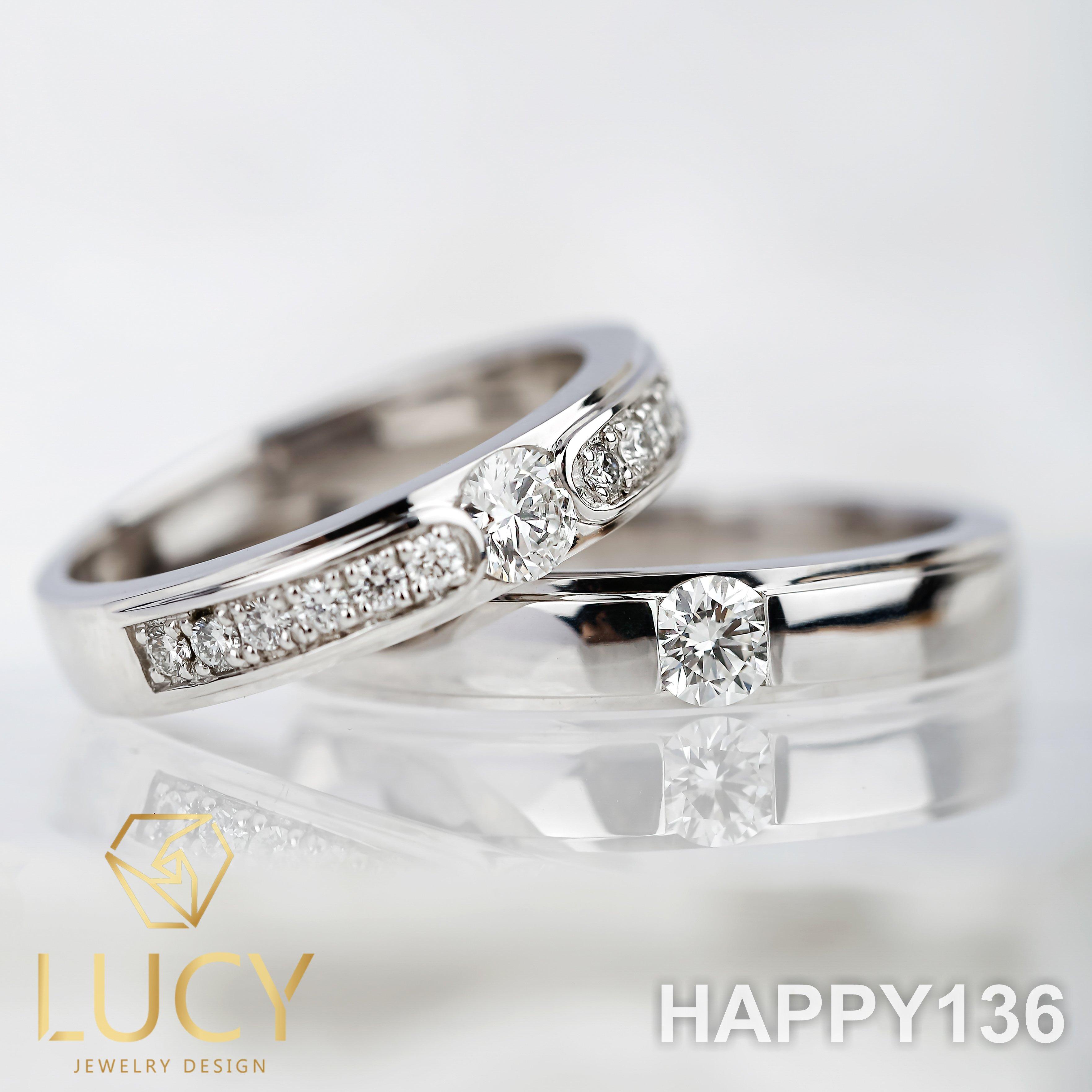 HAPPY136 Nhẫn cưới thiết kế, nhẫn cưới cao cấp, nhẫn cưới kim cương 3.5mm 3.6mm - Lucy Jewelry