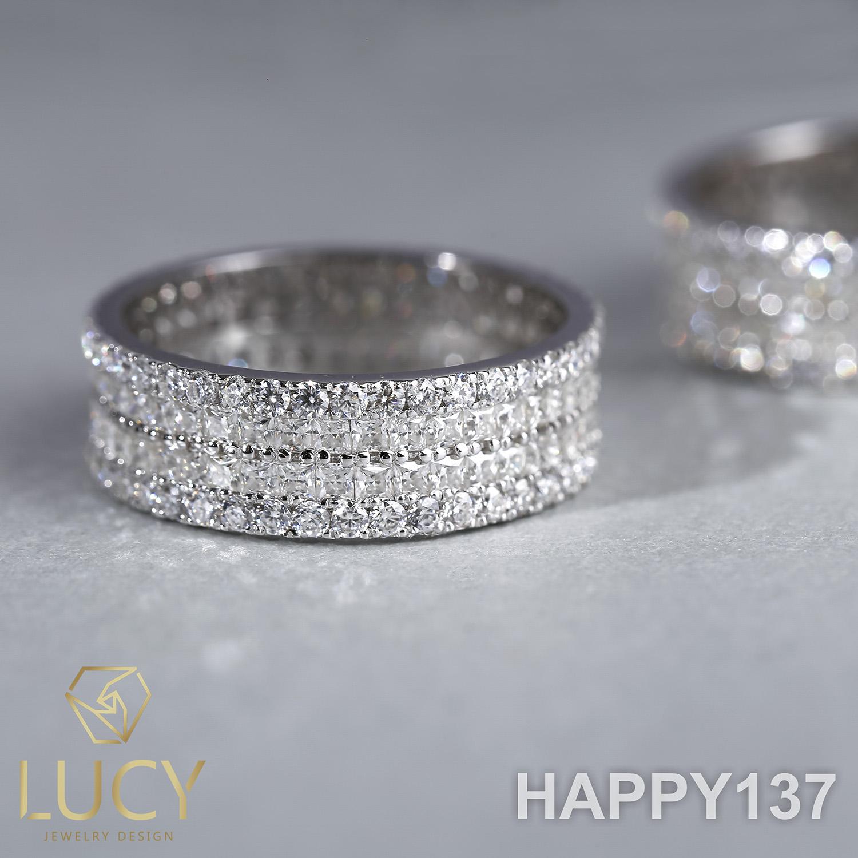 EM108 Nhẫn unisex full 2 hàng đá vuông 1.5mm và tròn 1.5mm - Lucy Jewelry