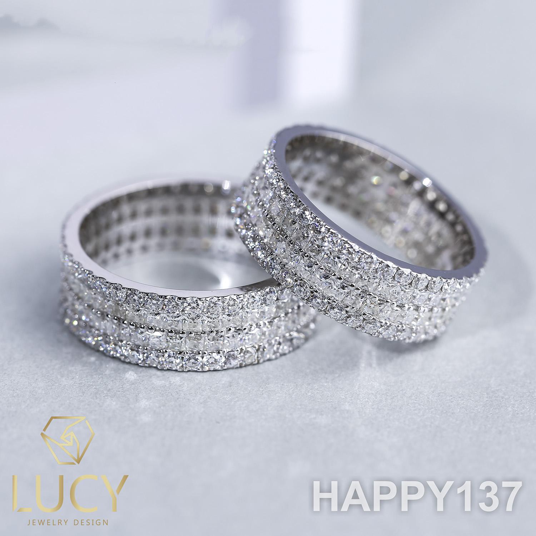 HAPPY137 Nhẫn cưới đẹp vàng tây, vàng trắng, vàng hồng 10k 14k 18k, Bạch Kim Platinum PT900 đính CZ, Moissanite, Kim cương - Lucy Jewelry