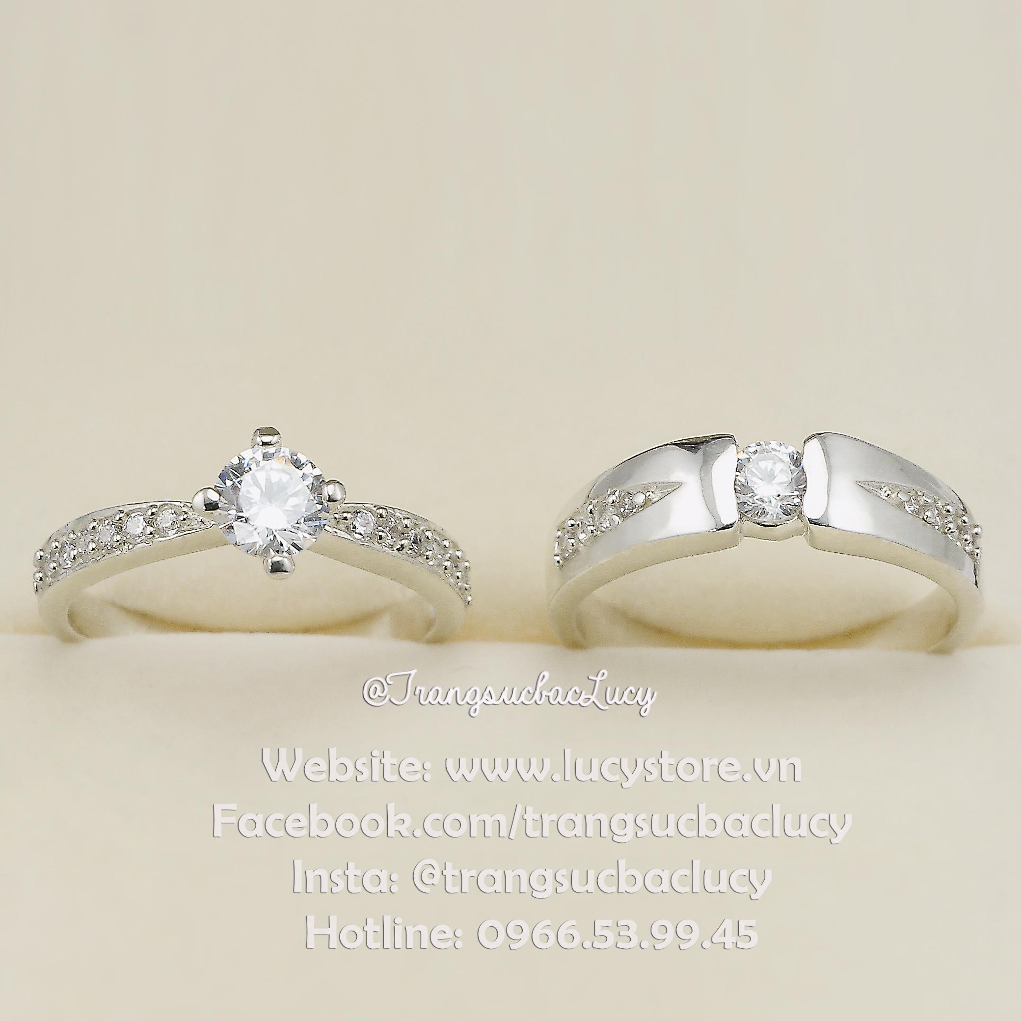 Nhẫn đôi nhẫn cặp bạc Lucy - ND029