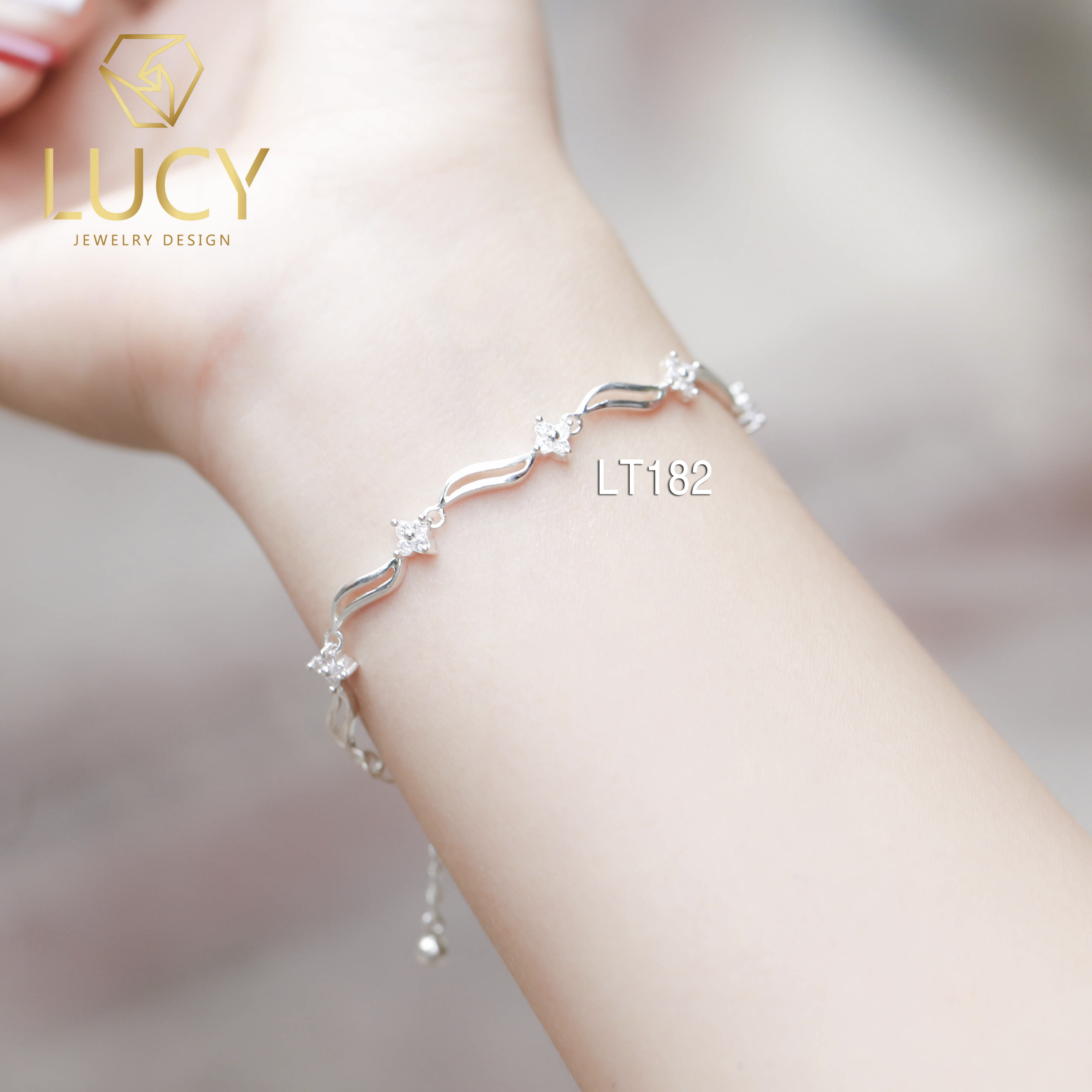 Lắc tay dải hoa lá BẠC LUCY - LT182