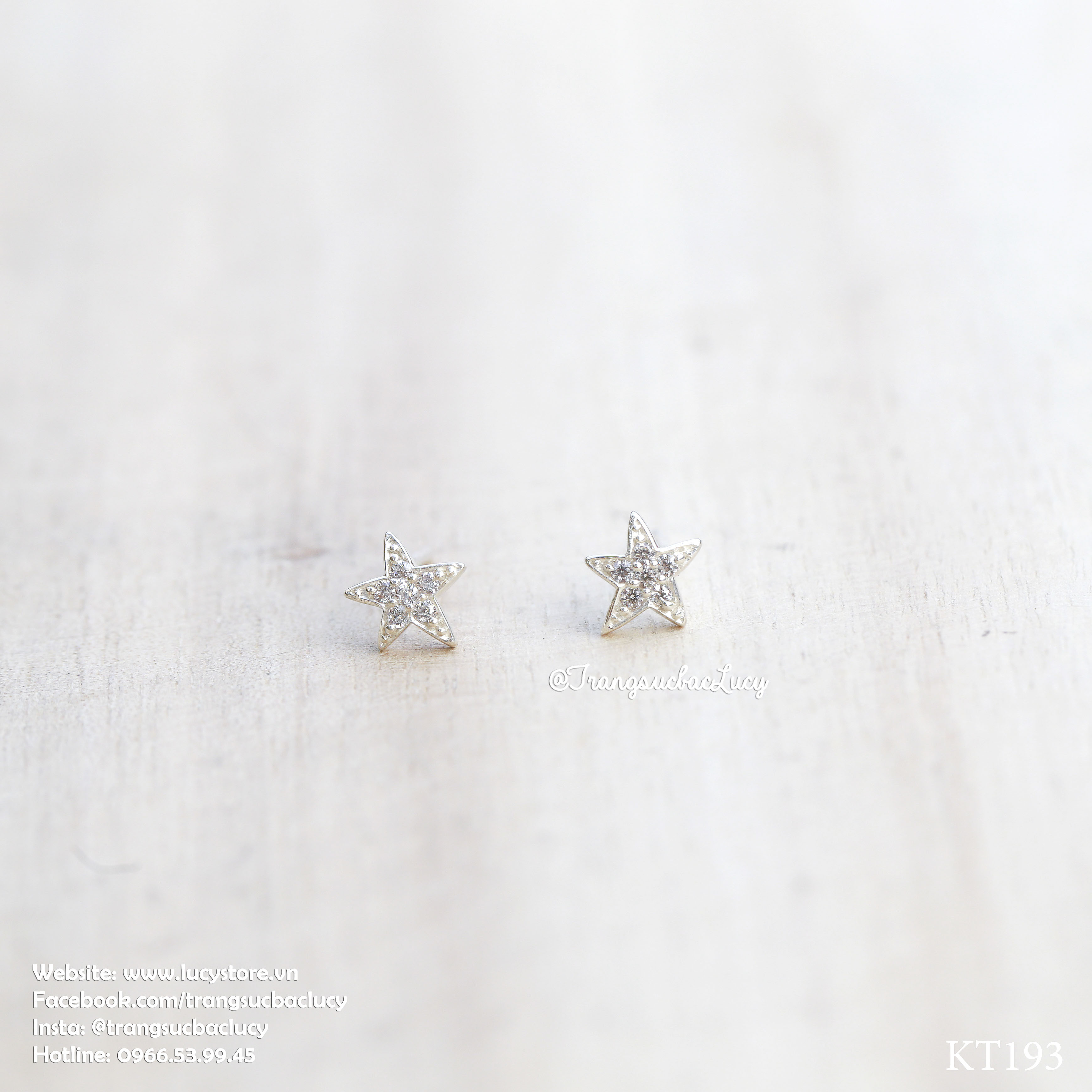 Khuyên tai sao biển bạc Lucy - KT193