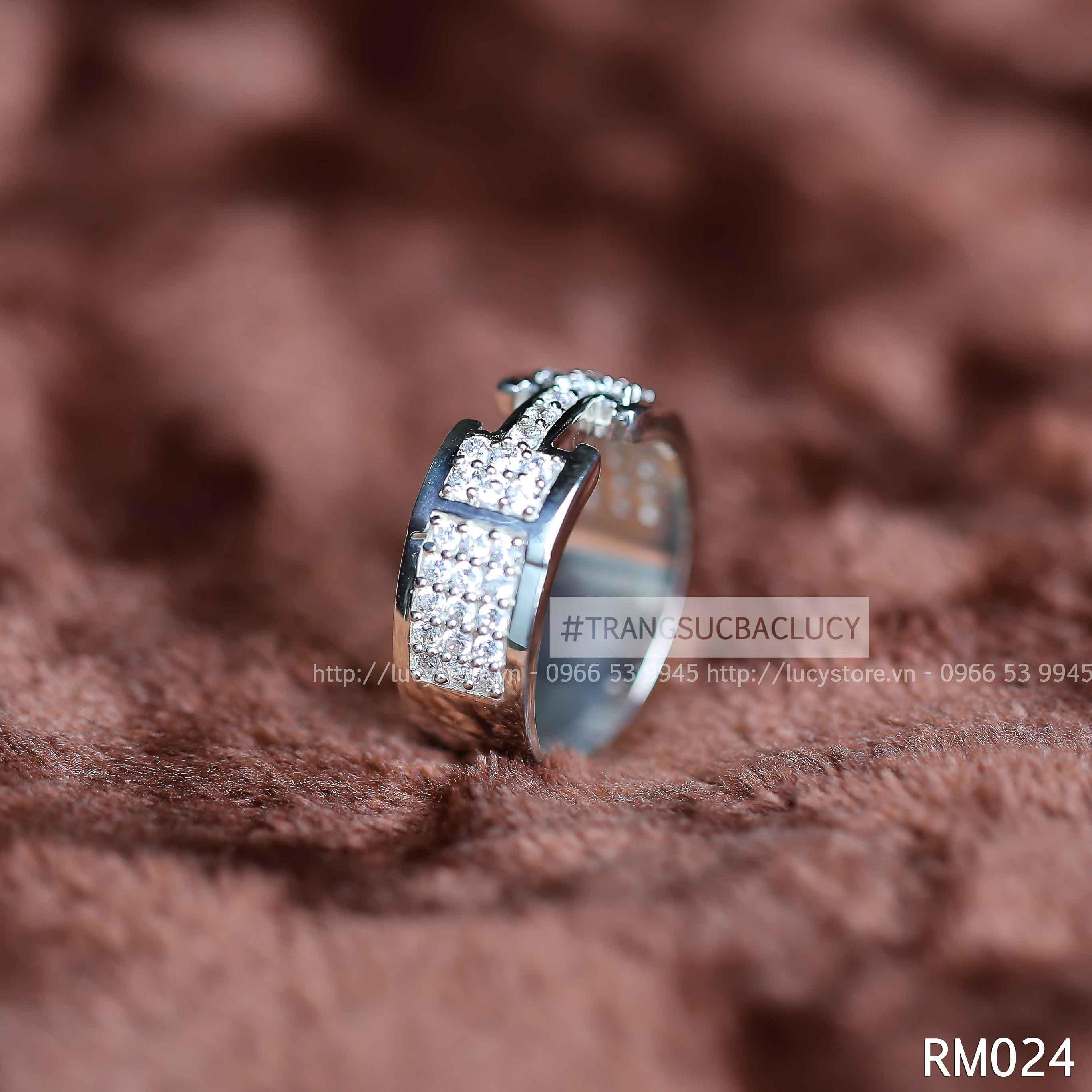 Nhẫn nam chữ H bạc Lucy - RM024