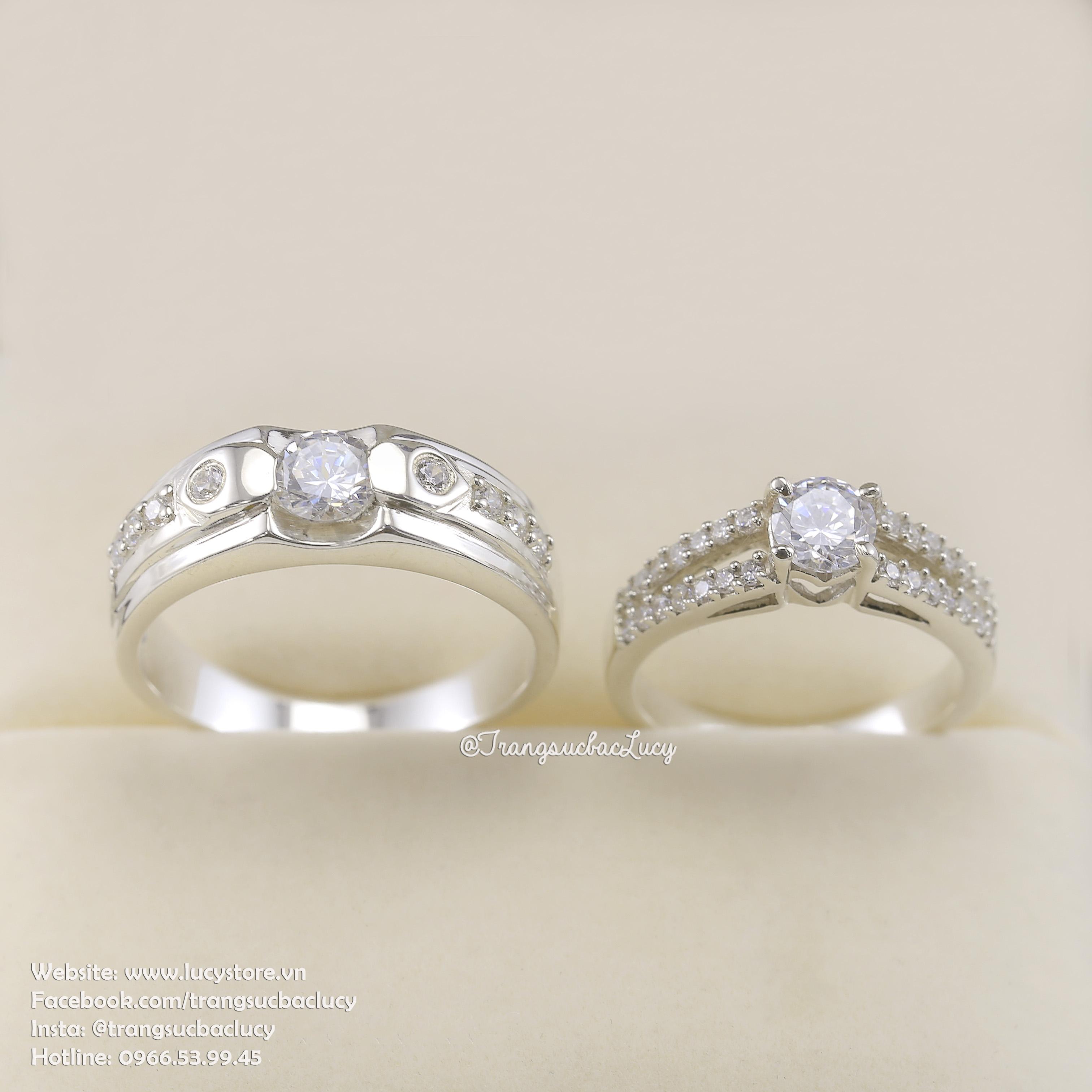 Nhẫn đôi nhẫn cặp bạc Lucy -  ND030
