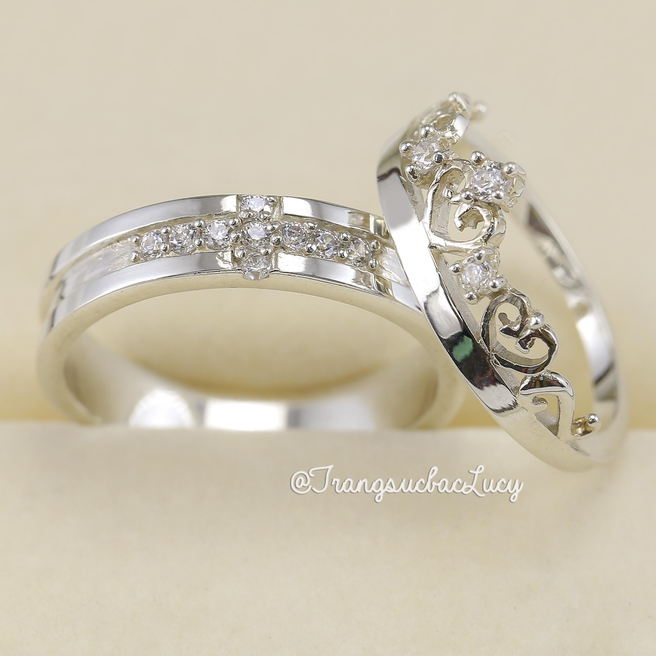 Nhẫn đôi nhẫn cặp bạc Lucy - ND014