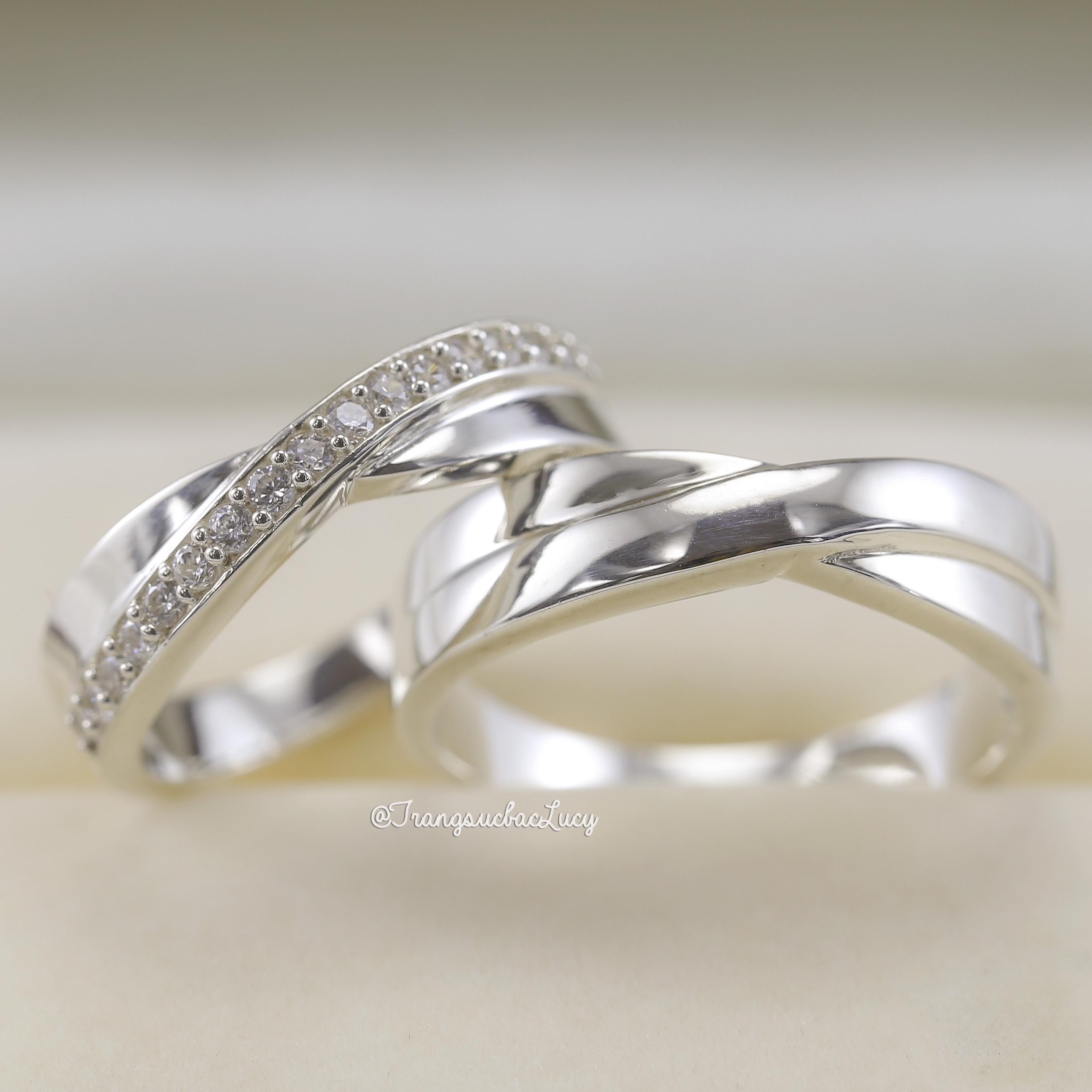 Nhẫn đôi nhẫn cặp bạc Lucy -  ND008