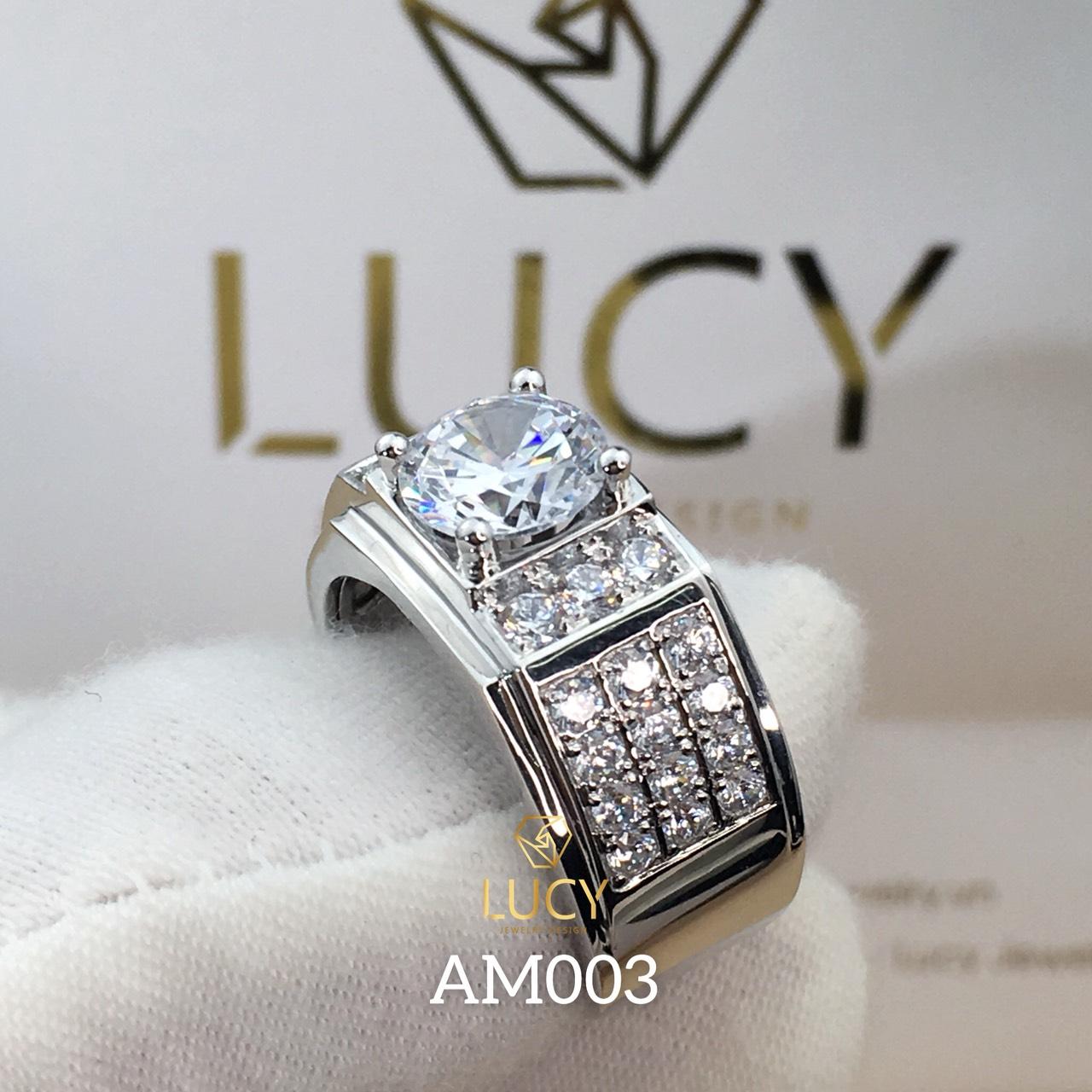 AM003 Nhẫn vàng nam đá chủ 8.1mm 8mm - Lucy Jewelry