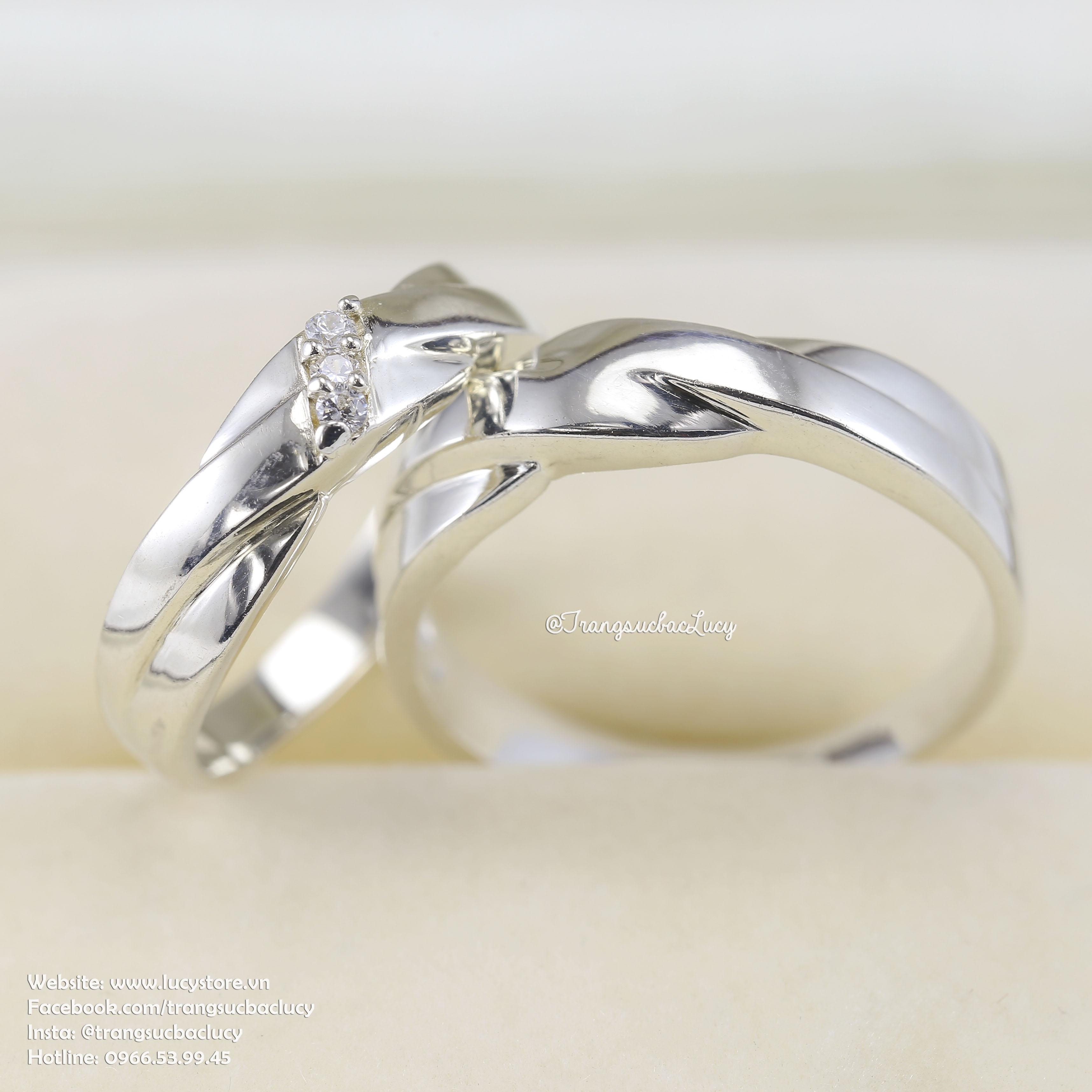 Nhẫn đôi nhẫn cặp bạc Lucy - ND006