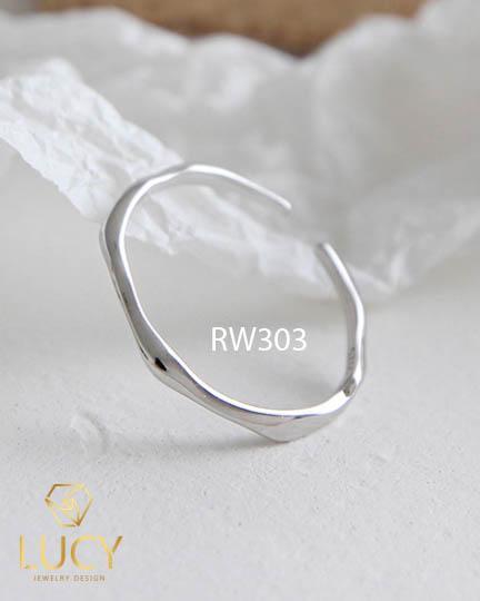 RW303 NHẪN CUFF BẠC Ý 925, XI VÀNG TRẮNG