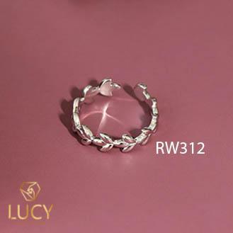 RW312 NHẪN CUFF BẠC Ý 925, XI VÀNG TRẮNG