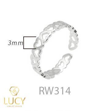 RW314 NHẪN CUFF BẠC Ý 925, XI VÀNG TRẮNG