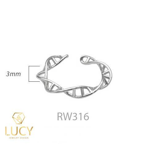 RW316 NHẪN CUFF BẠC Ý 925, XI VÀNG TRẮNG