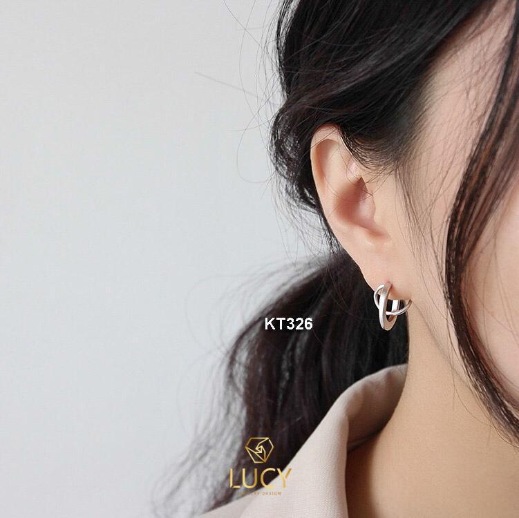 KT326 Khuyên tai bạc ý xi vàng trắng