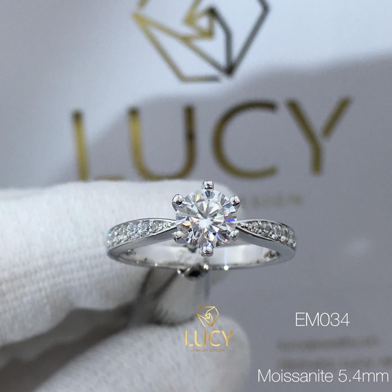 EM034 Nhẫn nữ thiết kế, nhẫn ổ cao 5mm 5.4mm, nhẫn cầu hôn, nhẫn đính hôn, nhẫn nữ vàng - Lucy Jewelry