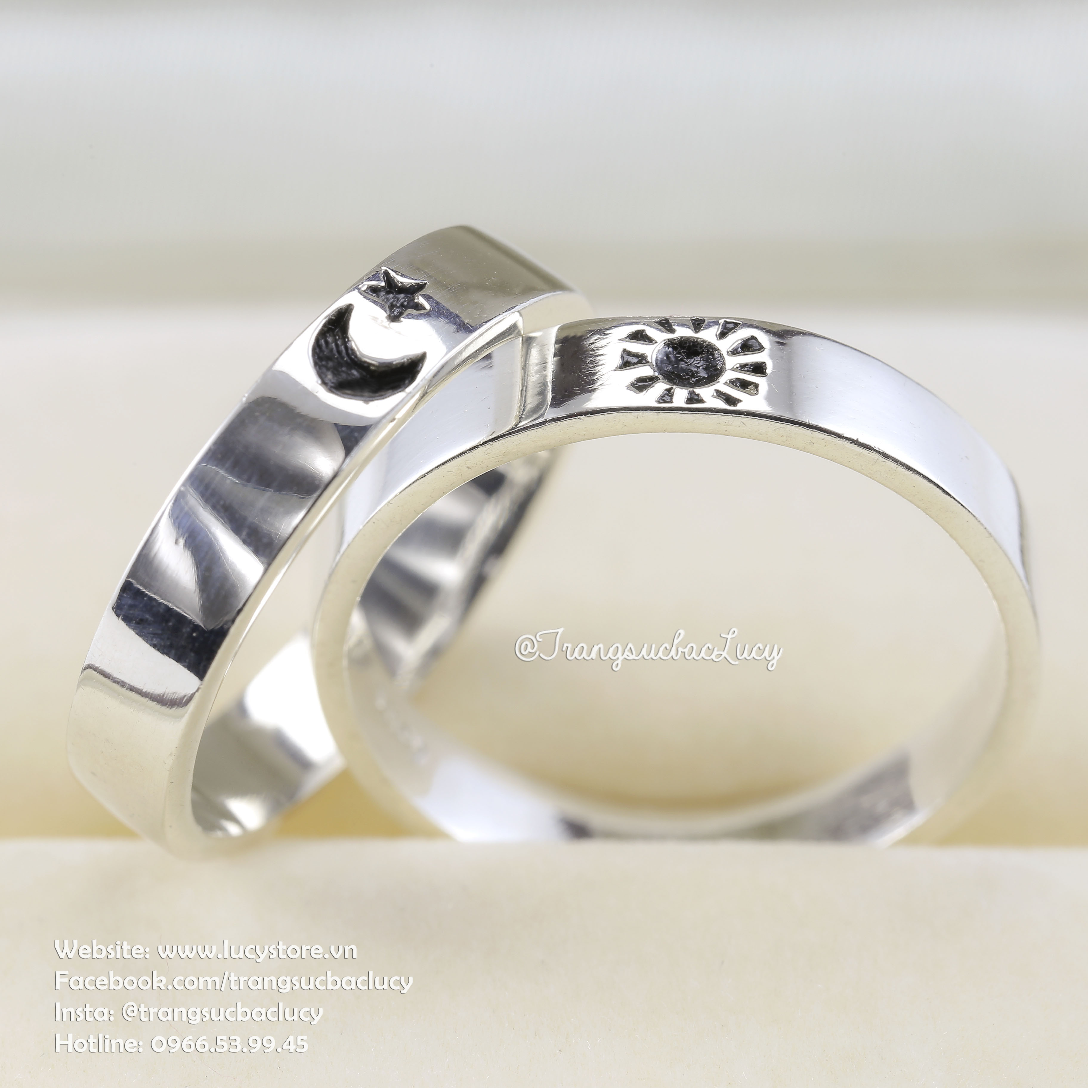 Nhẫn đôi Mặt trăng - Mặt trời bạc Lucy - ND032