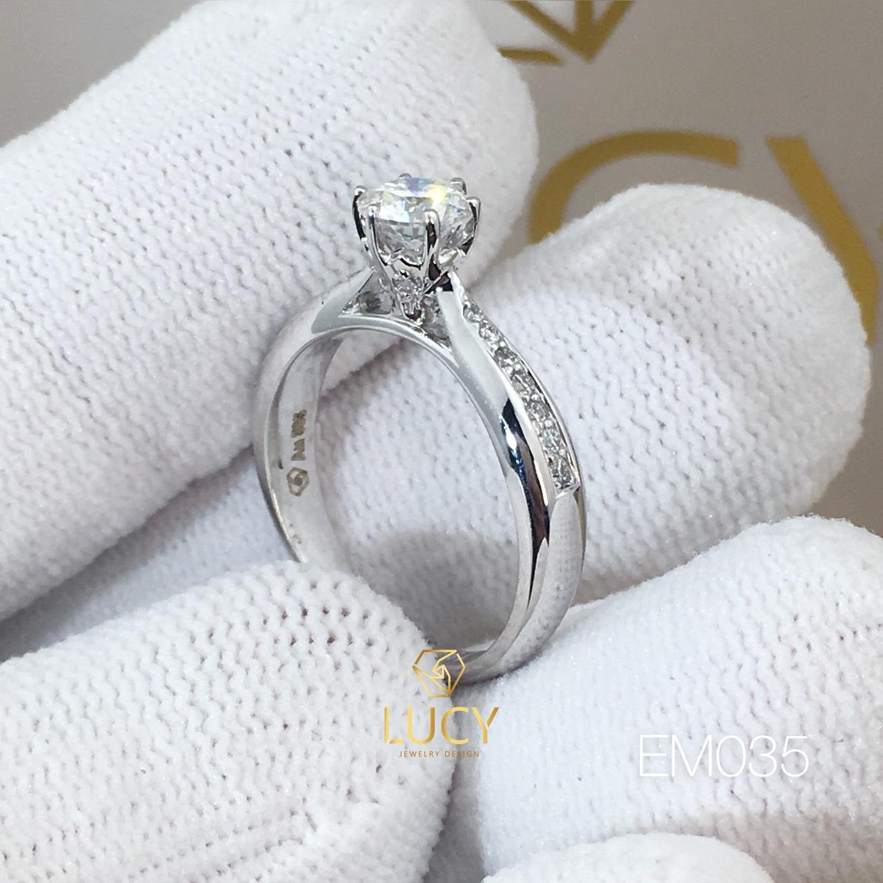 EM035 Nhẫn nữ thiết kế, nhẫn ổ kim 5mm, nhẫn cầu hôn, nhẫn đính hôn, nhẫn nữ vàng - Lucy Jewelry