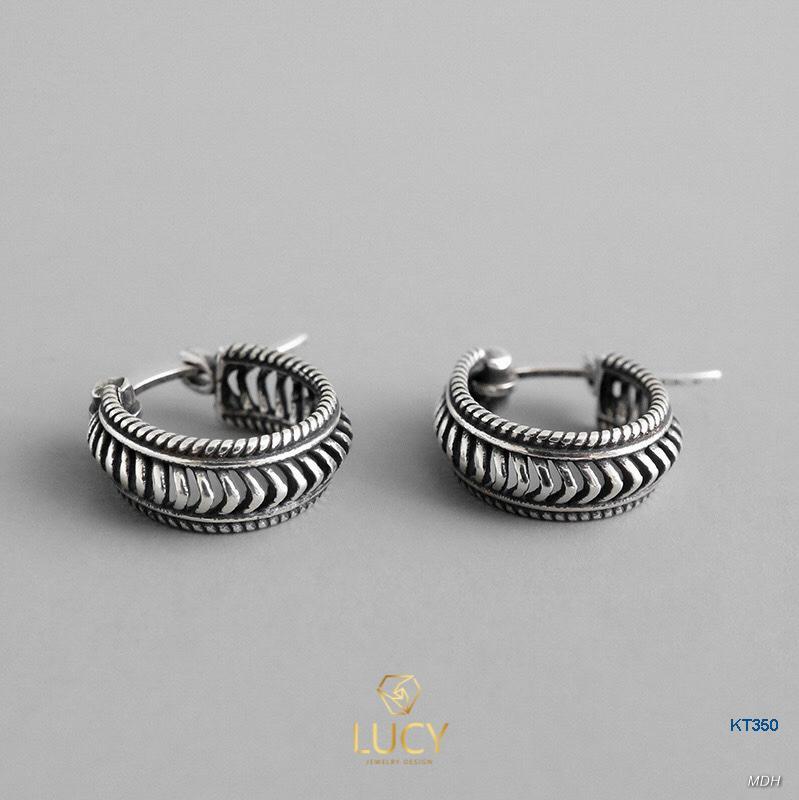 KT350 Khuyên tai bạc Ý 925 xi đen- LUCYJEWELRY