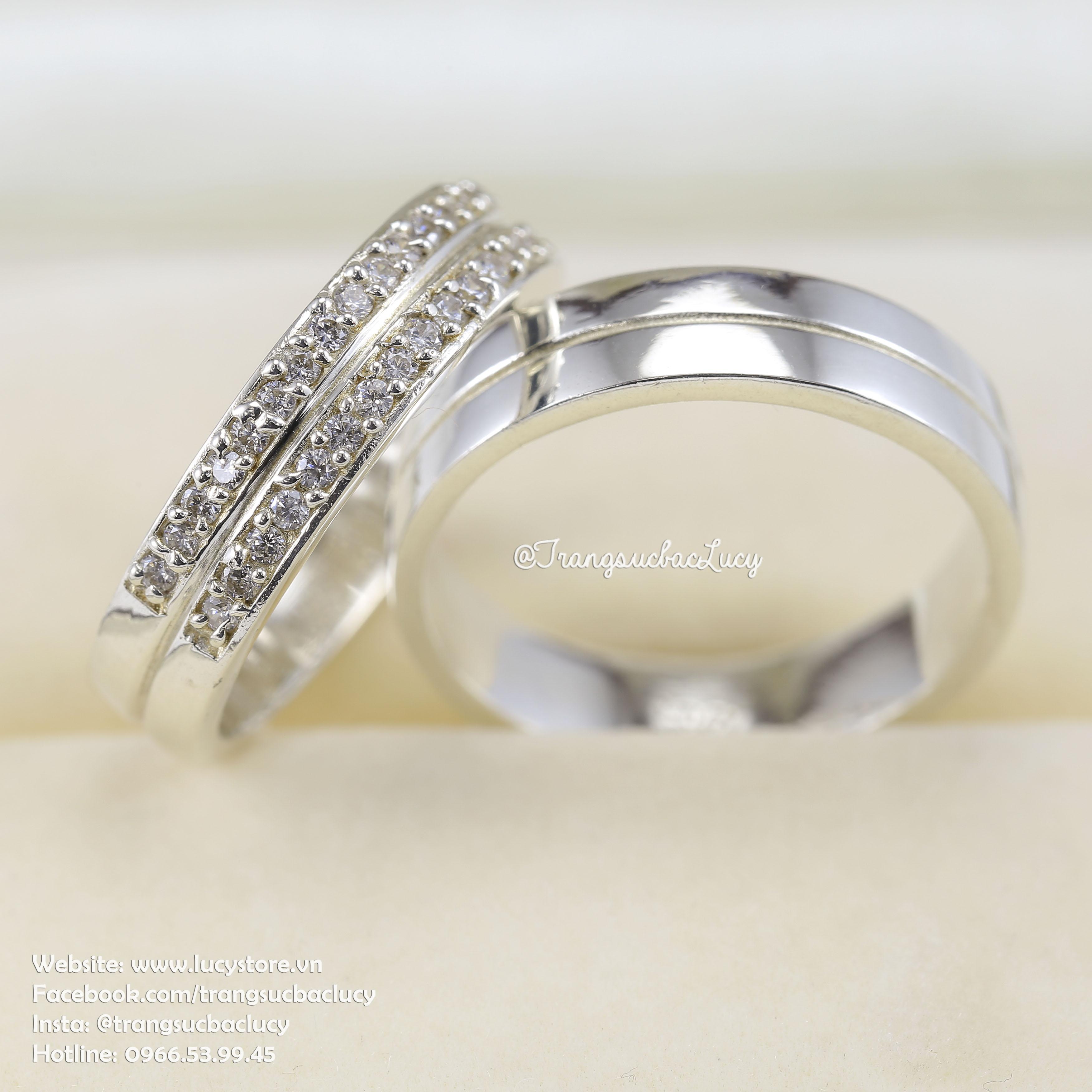 Nhẫn đôi nhẫn cặp bạc Lucy - ND034