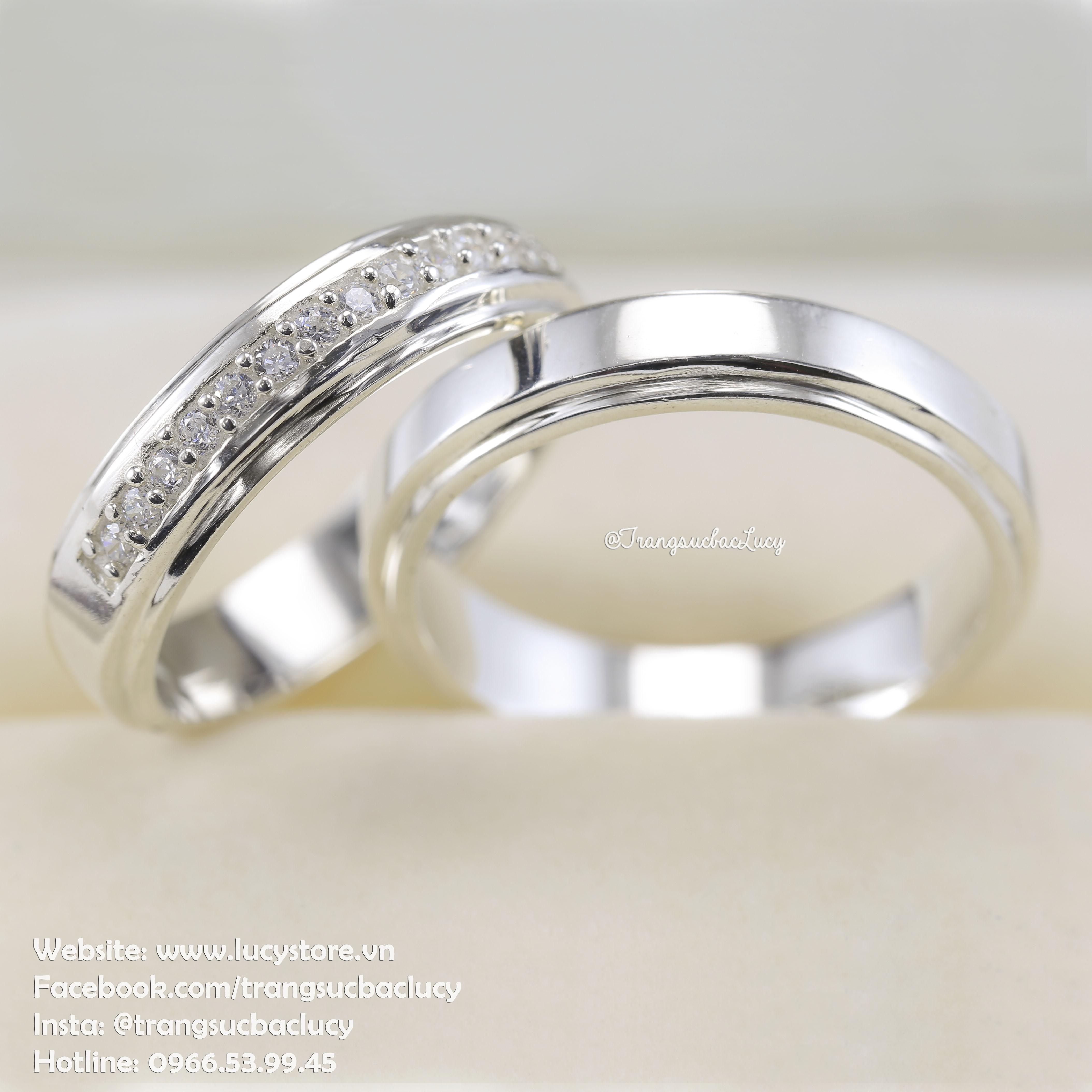 Nhẫn đôi nhẫn cặp bạc Lucy - ND037