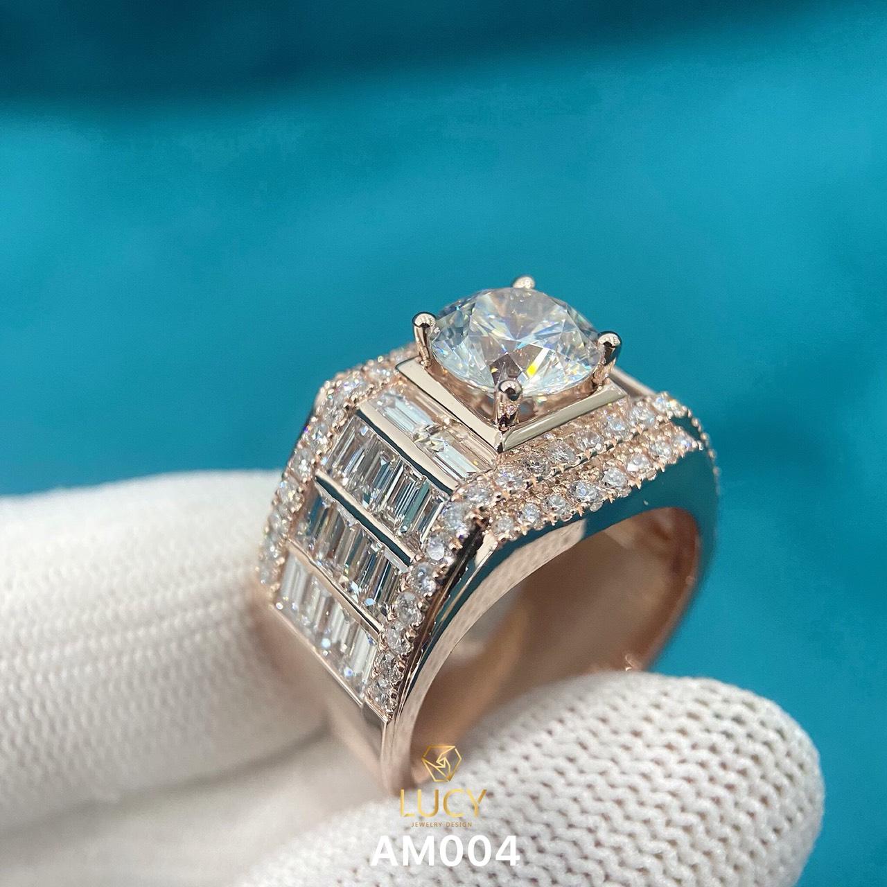 AM004 - Nhẫn vàng nam đá chủ 8.1mm 8mm - Lucy Jewelry
