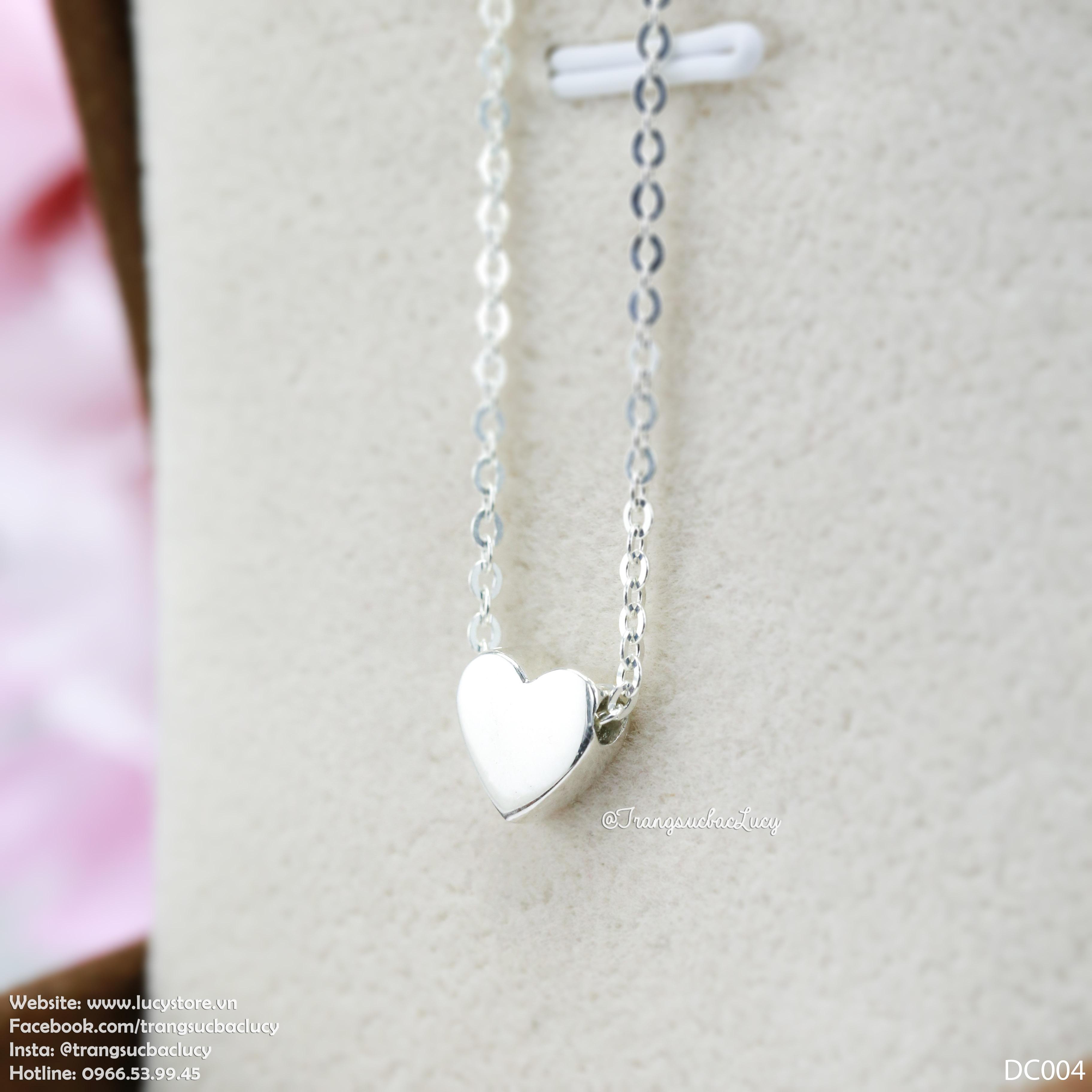 Dây chuyền liền mặt trái tim nhỏ bạc Lucy - DC004
