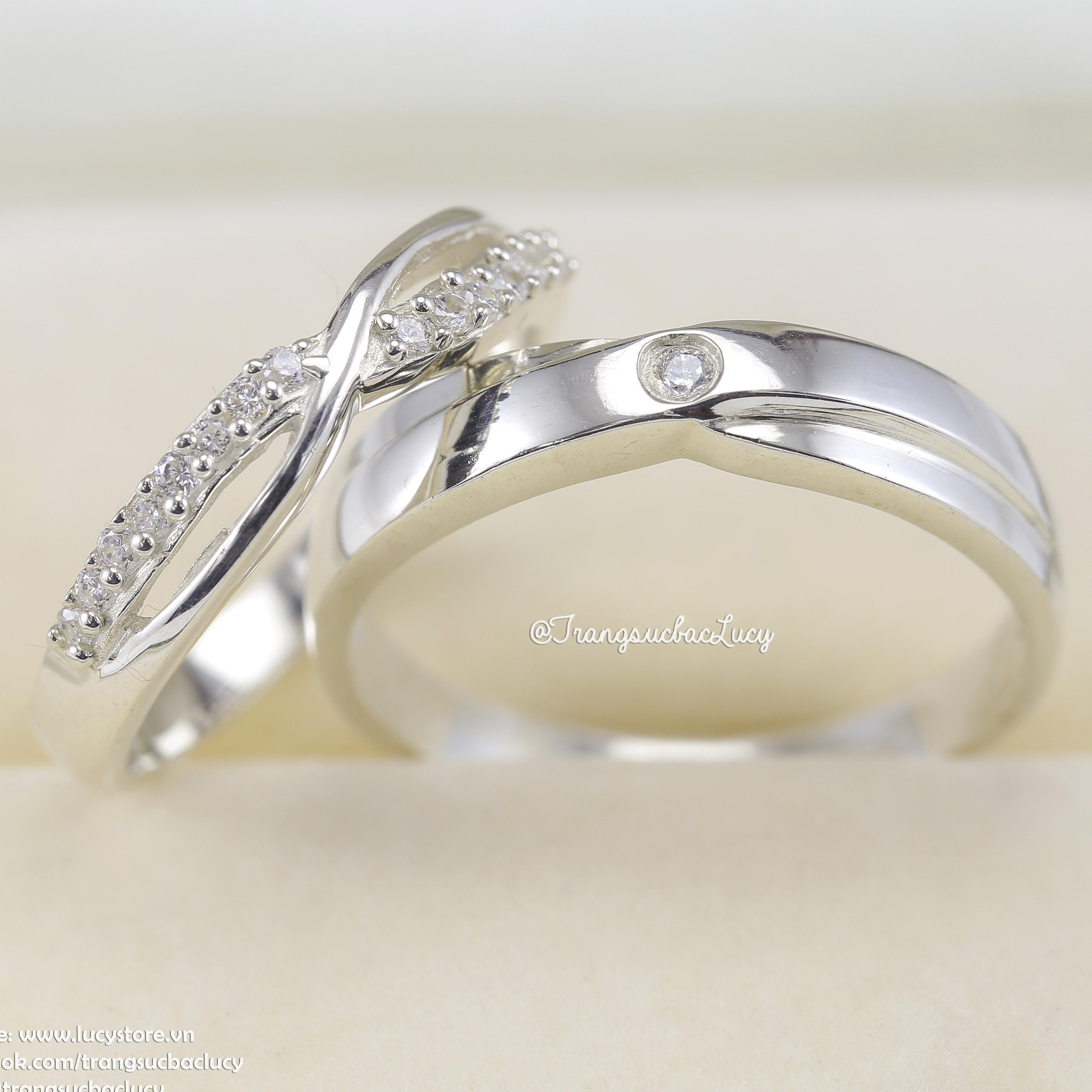 Nhẫn đôi nhẫn cặp bạc Lucy - ND038