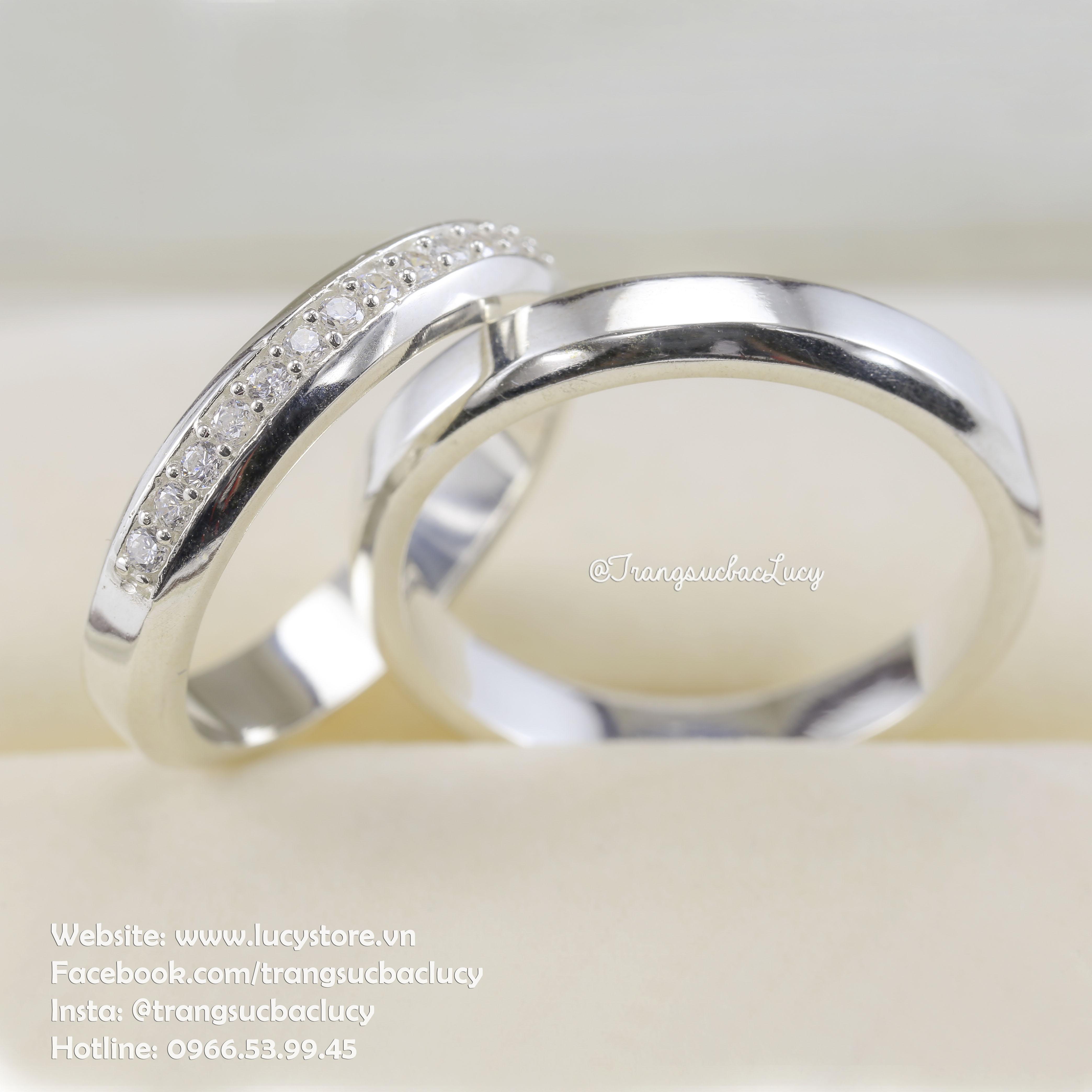 Nhẫn đôi nhẫn cặp bạc Lucy - ND033