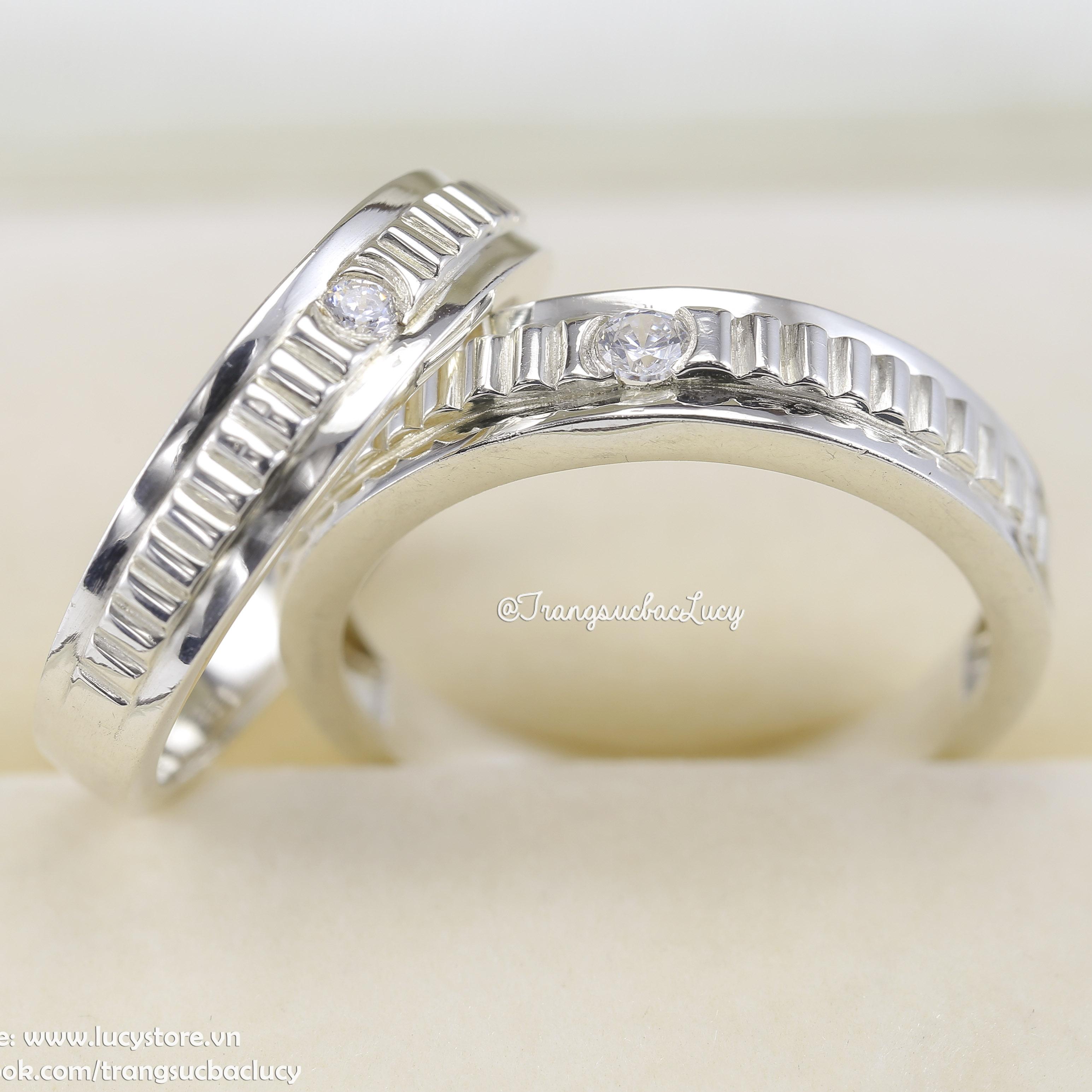 Nhẫn đôi nhẫn cặp bạc Lucy - ND044