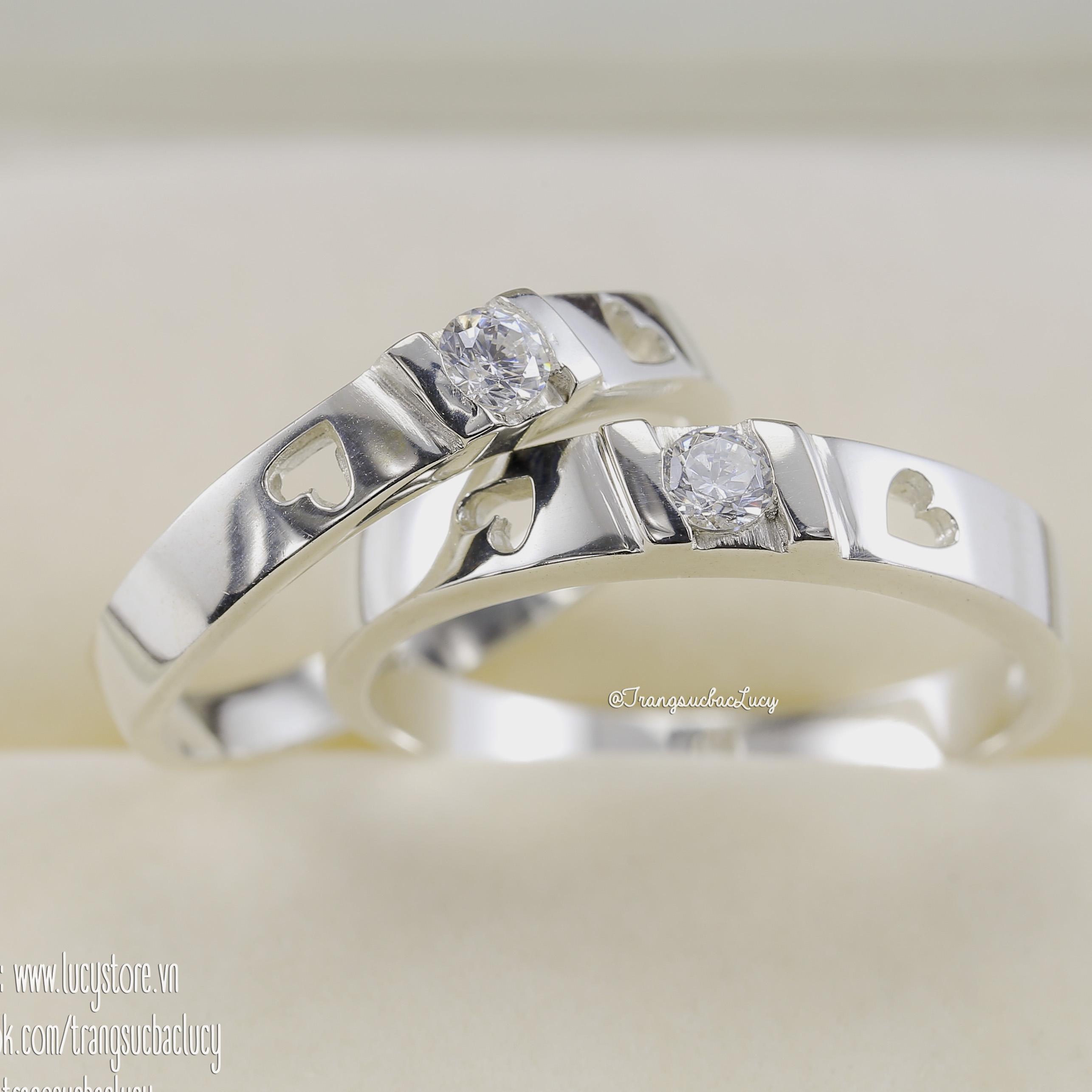 Nhẫn đôi nhẫn cặp bạc Lucy - ND040