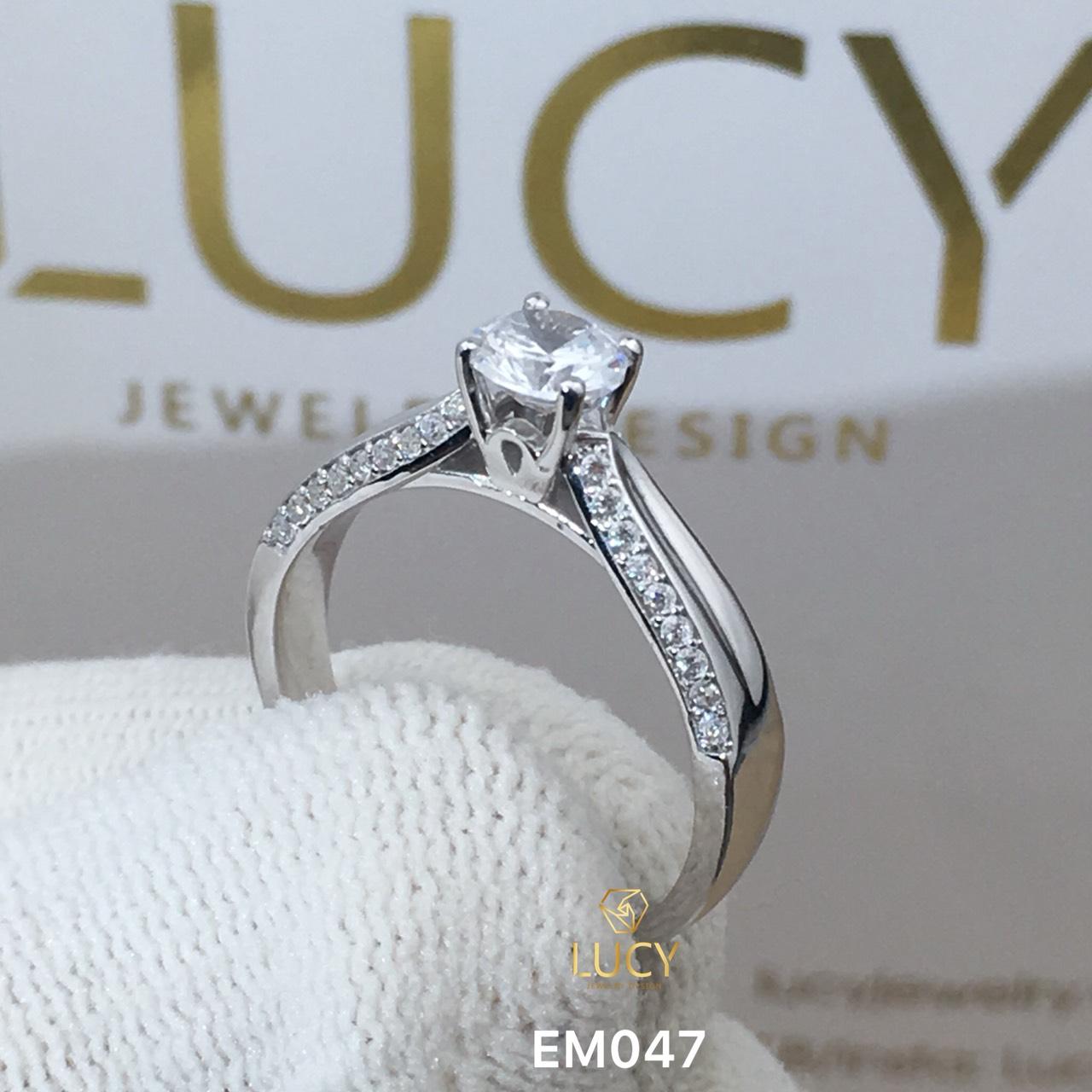 EM047 Nhẫn nữ vàng, nhẫn ổ 6mm - 6.3mm, nhẫn nữ thiết kế, nhẫn cầu hôn, nhẫn đính hôn - Lucy Jewelry